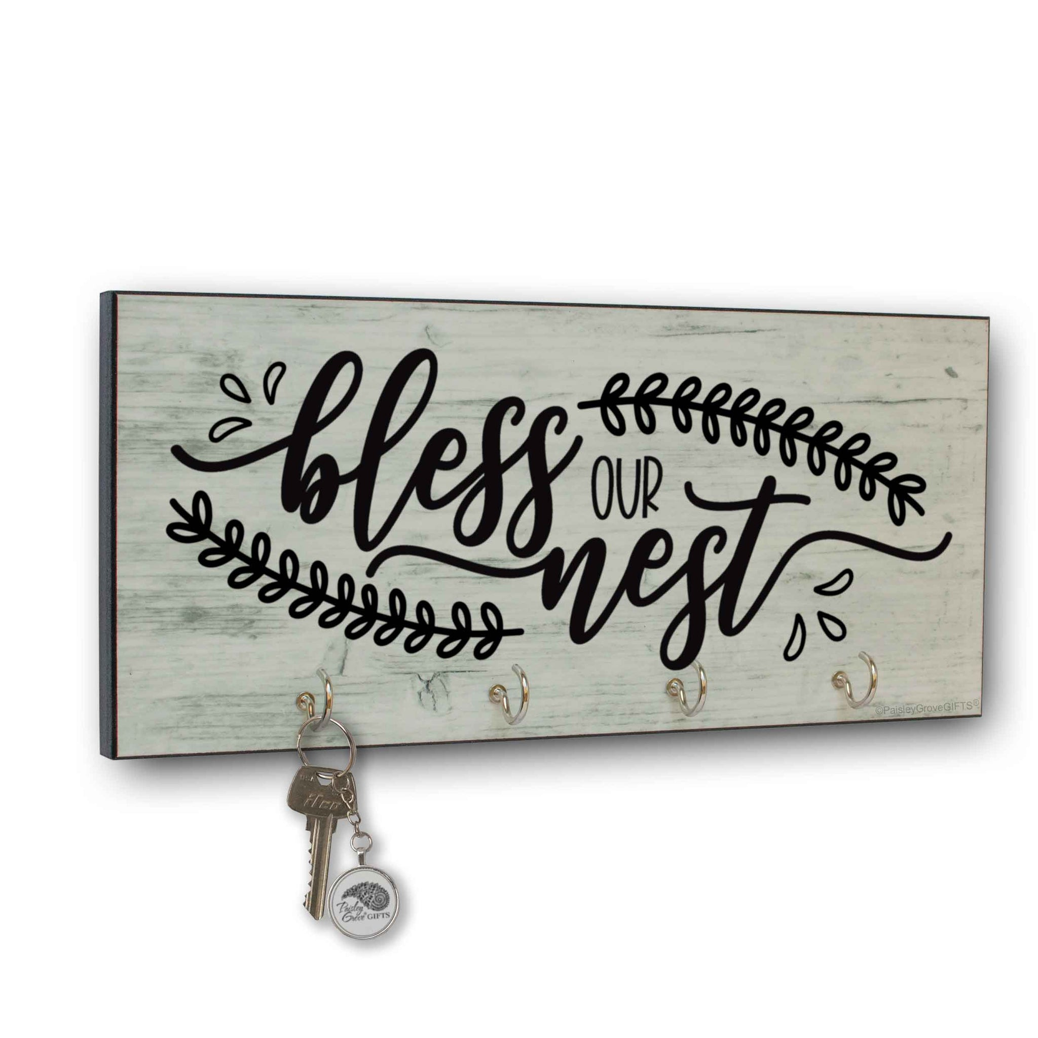 CopyrightPaisleyGroveGIFTS S310a1 Bless our Nest key holder for wall Farmhouse Entryway organizer