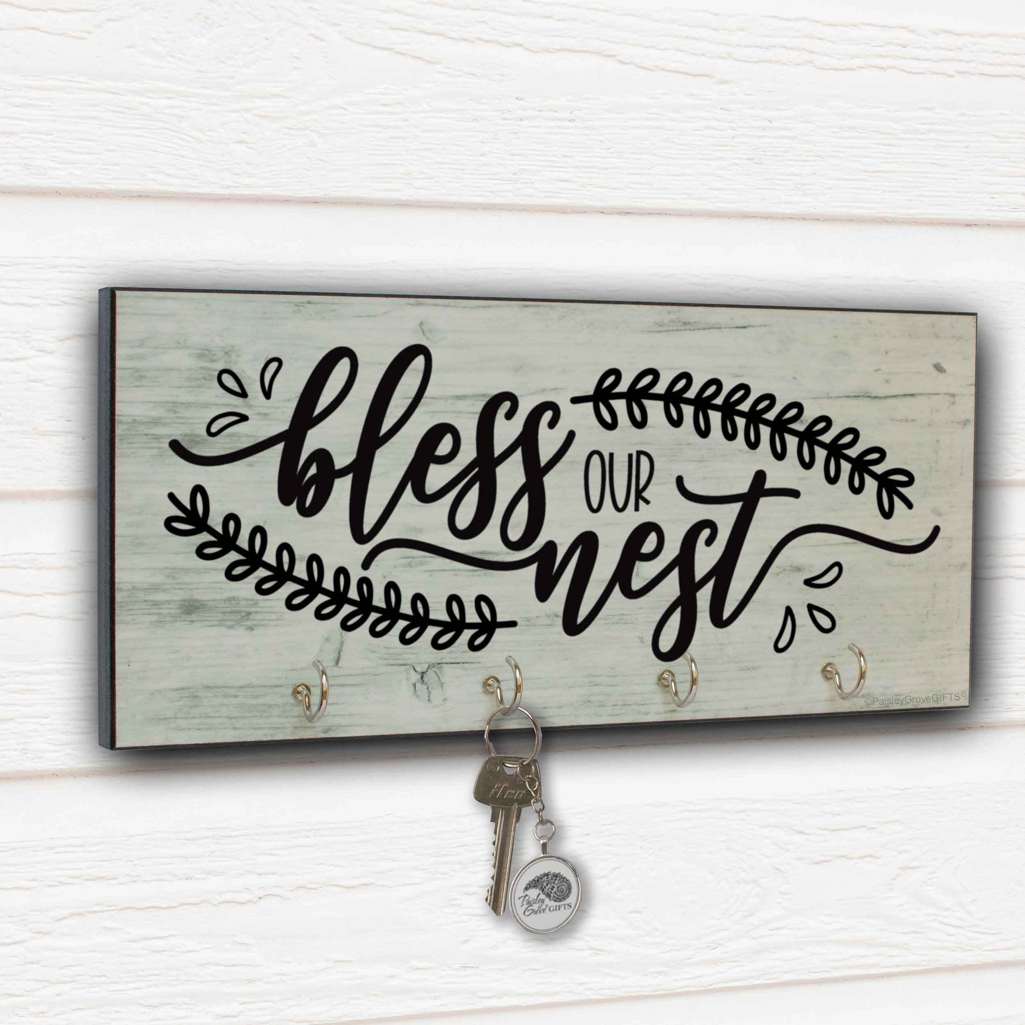 CopyrightPaisleyGroveGIFTS S310a1 Bless our Nest Mudroom Decor entryway key hanger on shiplap wall