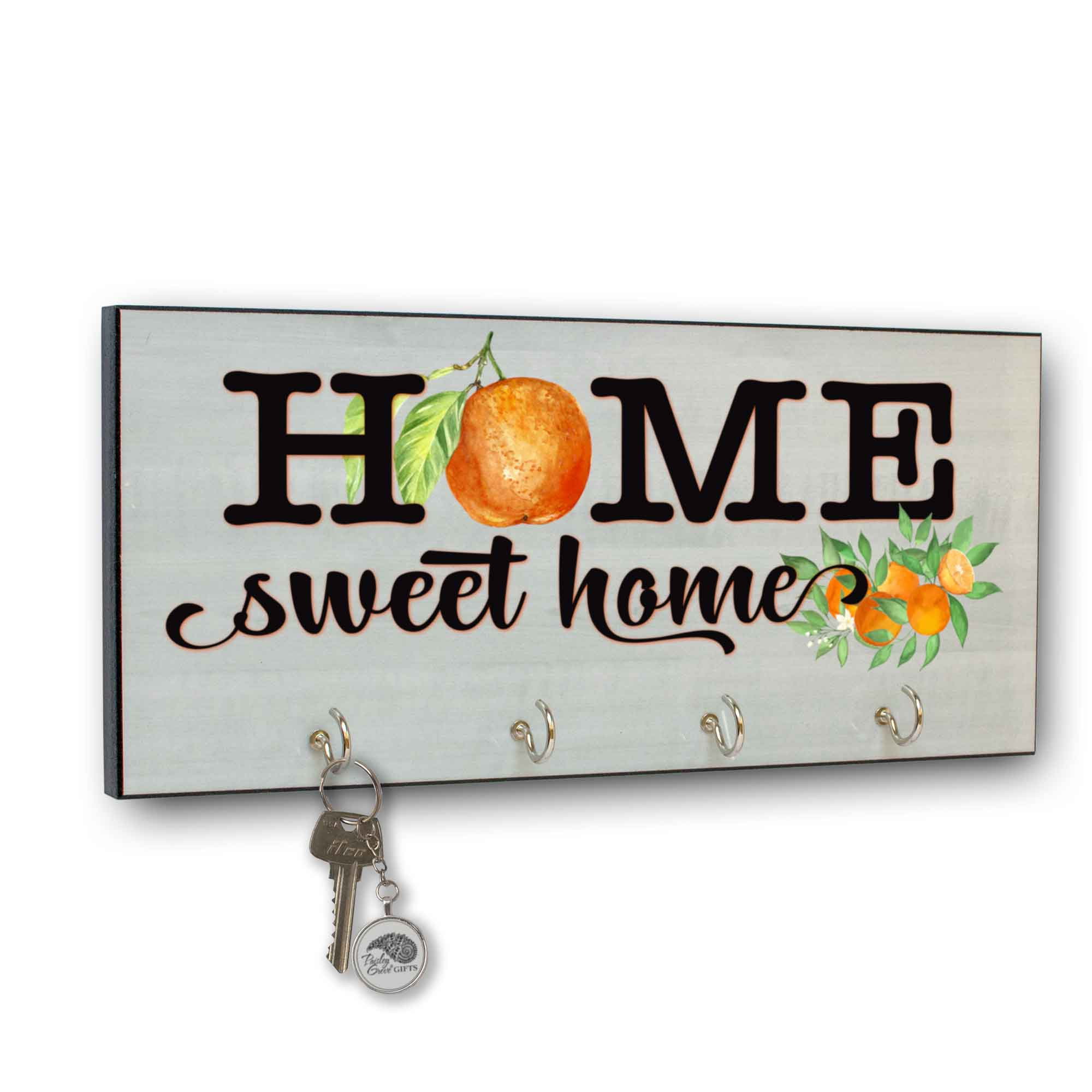 CopyrightPaisleyGroveGIFTS S311a Home Sweet Home key holder for wall Redlands Oranges Hometown