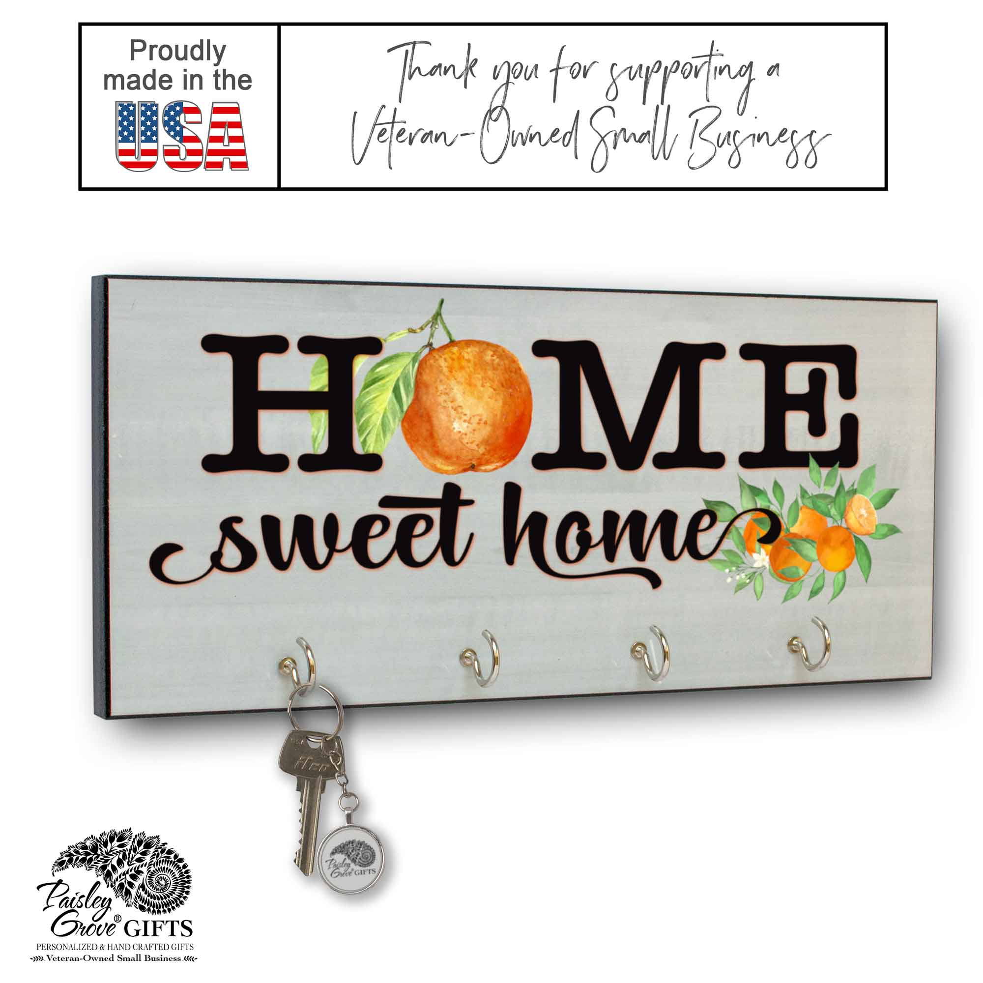 CopyrightPaisleyGroveGIFTS S311a Entryway Key Hooks Organizer with Citrus Oranges Housewarming Gift