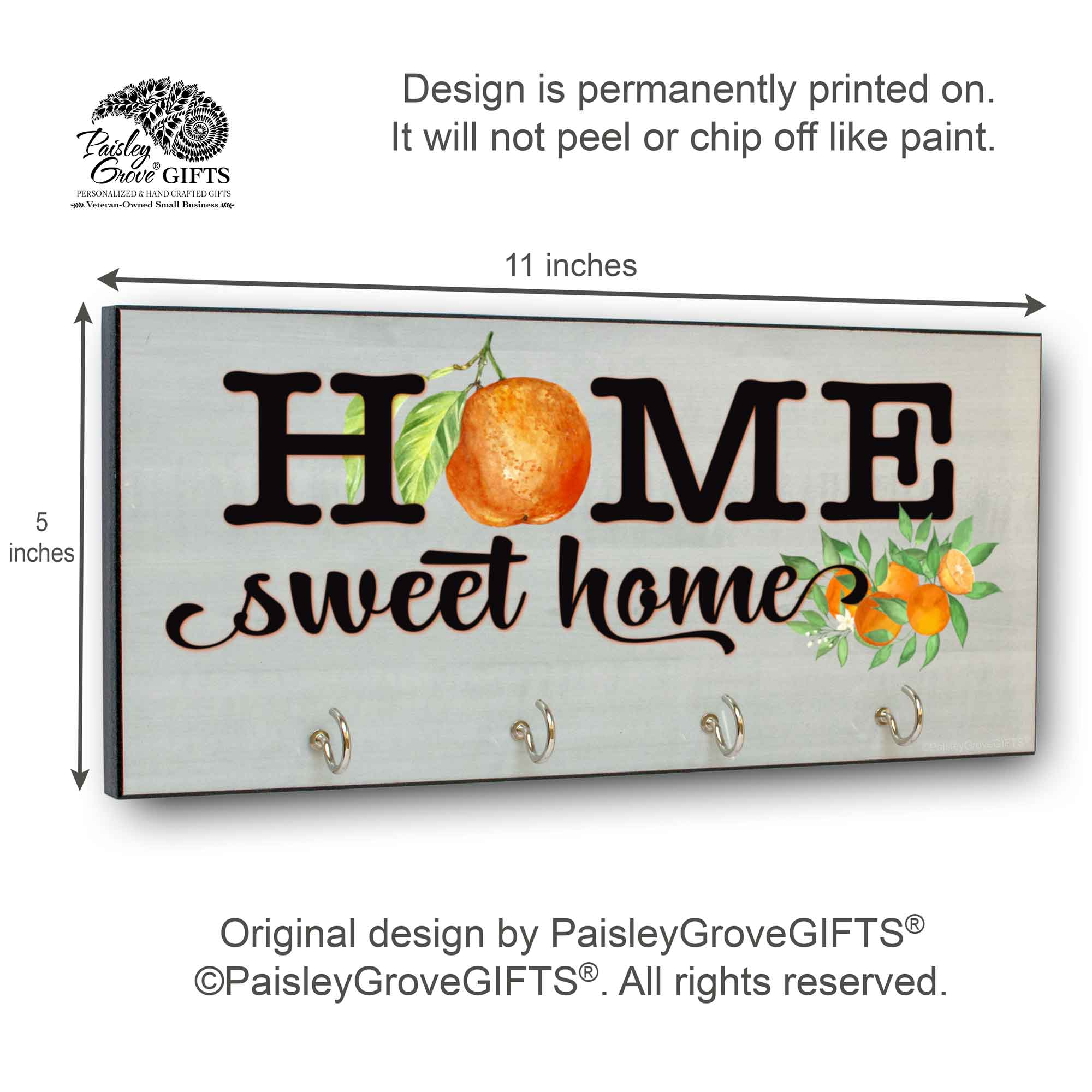 CopyrightPaisleyGroveGIFTS S311a Citrus home Decor Key Hanger measurements for housewarming gift
