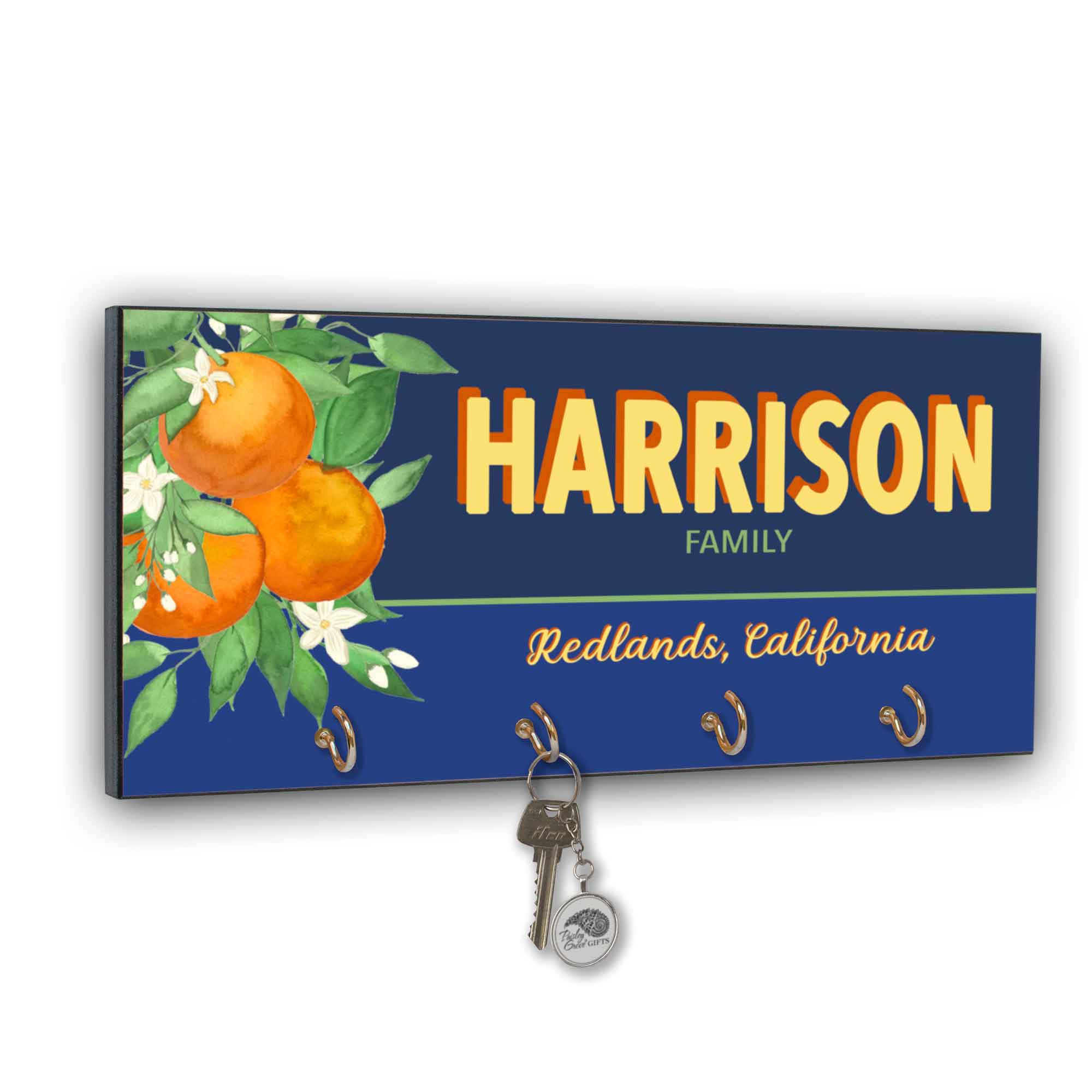CopyrightPaisleyGroveGIFTS S311d Redlands Fruit Crate Label key holder for wall Redlands Hometown Decor