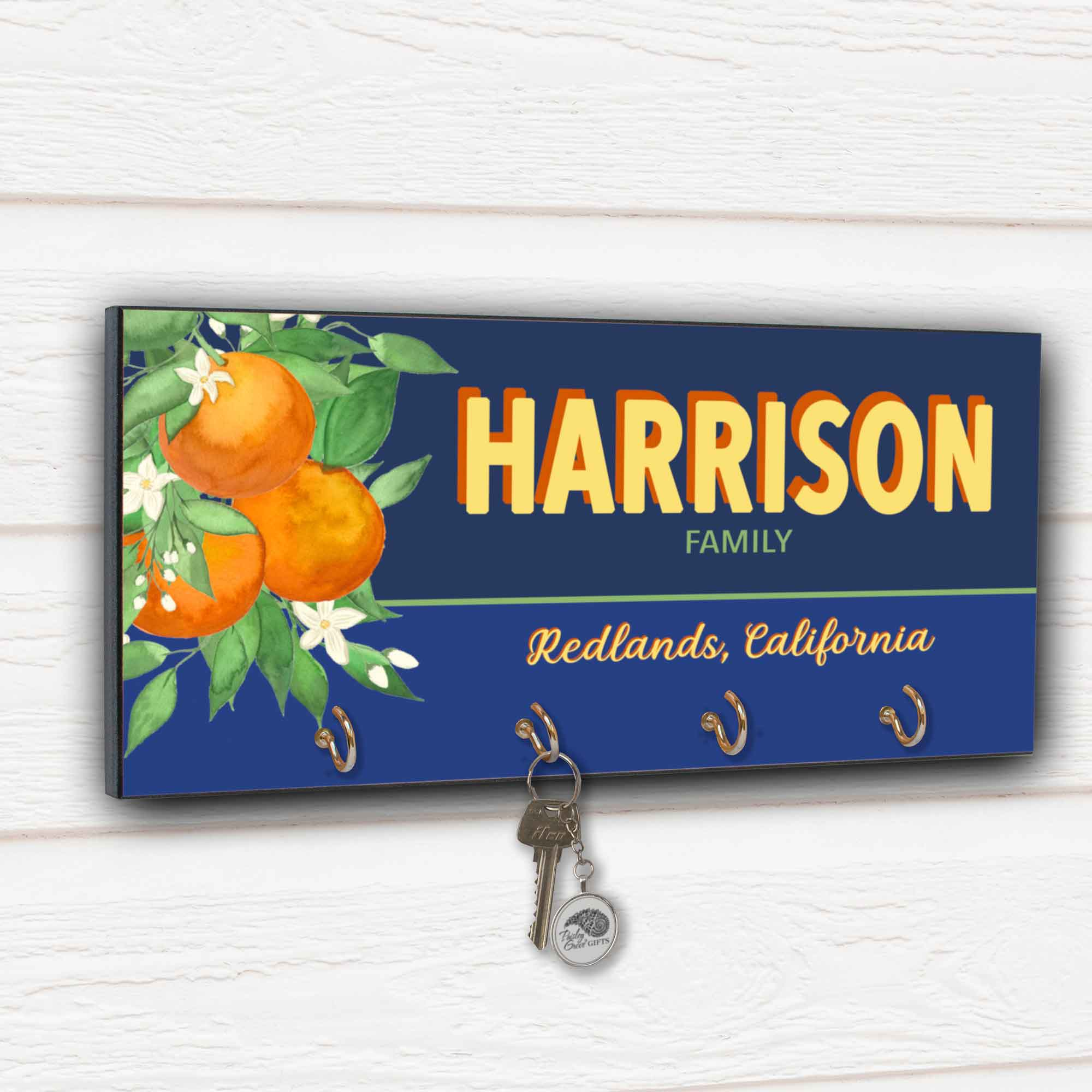 CopyrightPaisleyGroveGIFTS S311d Personalized Fruit Crate Key Holder with oranges for Redlands Orange Groves Home Decor