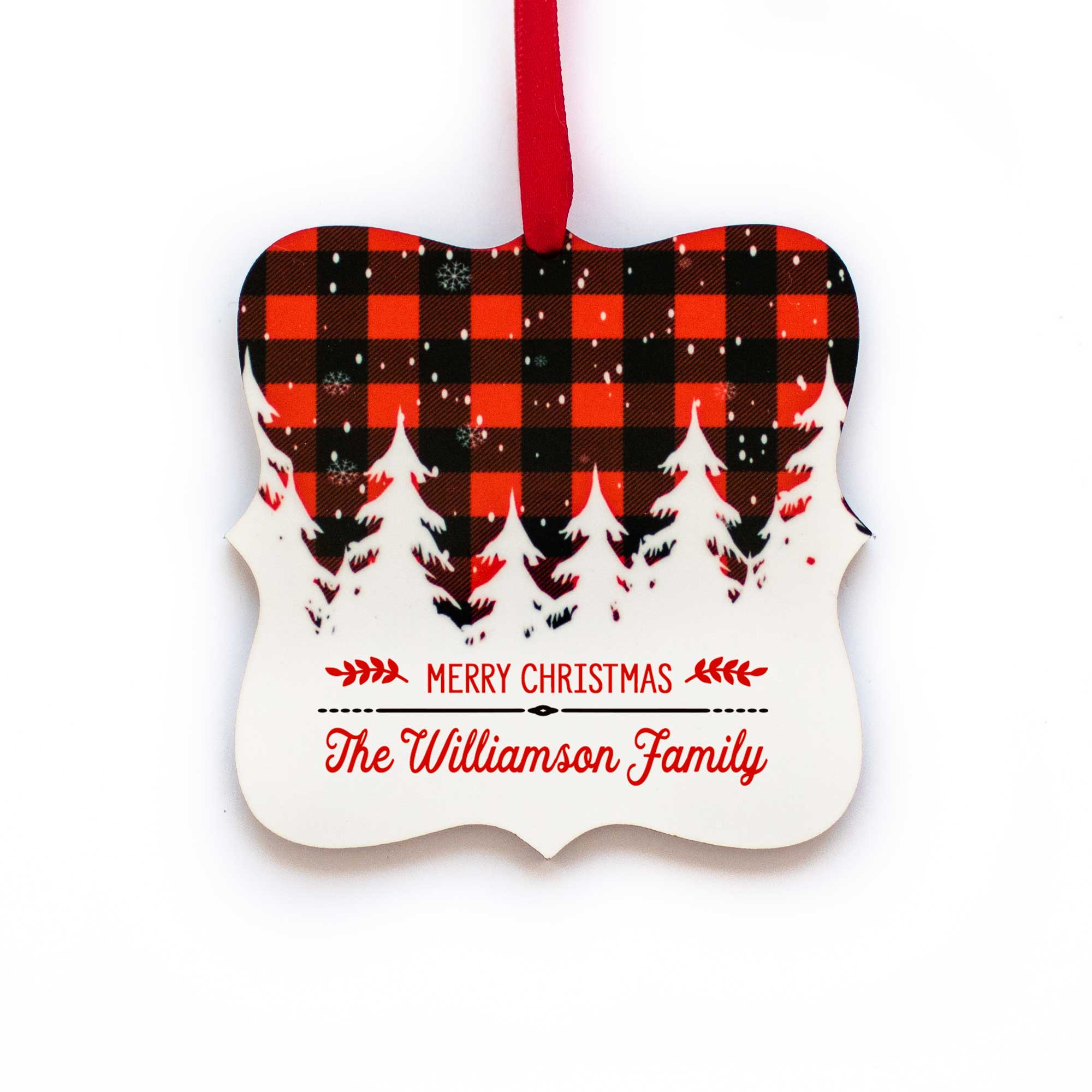 CopyrightPaisleyGroveGIFTS S502b Red and White checkered Buffalo plaid Personalized Last Name Christmas Ornament
