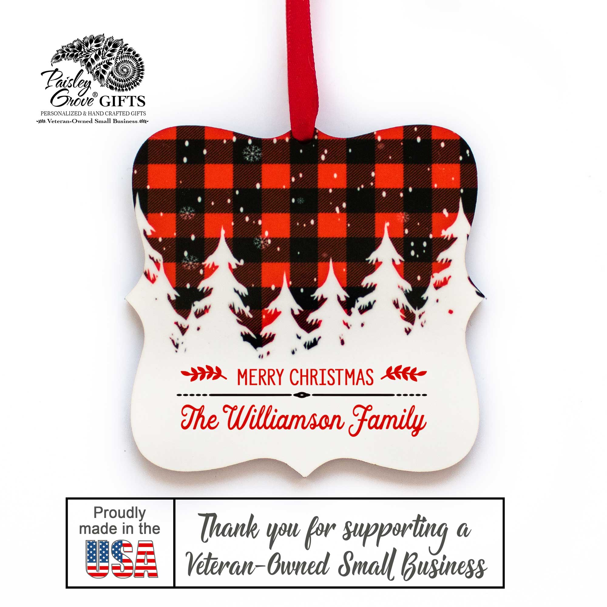 CopyrightPaisleyGroveGIFTS S502b Custom Last Name Christmas Tree Ornament Buffalo Plaid Decor Made in the USA