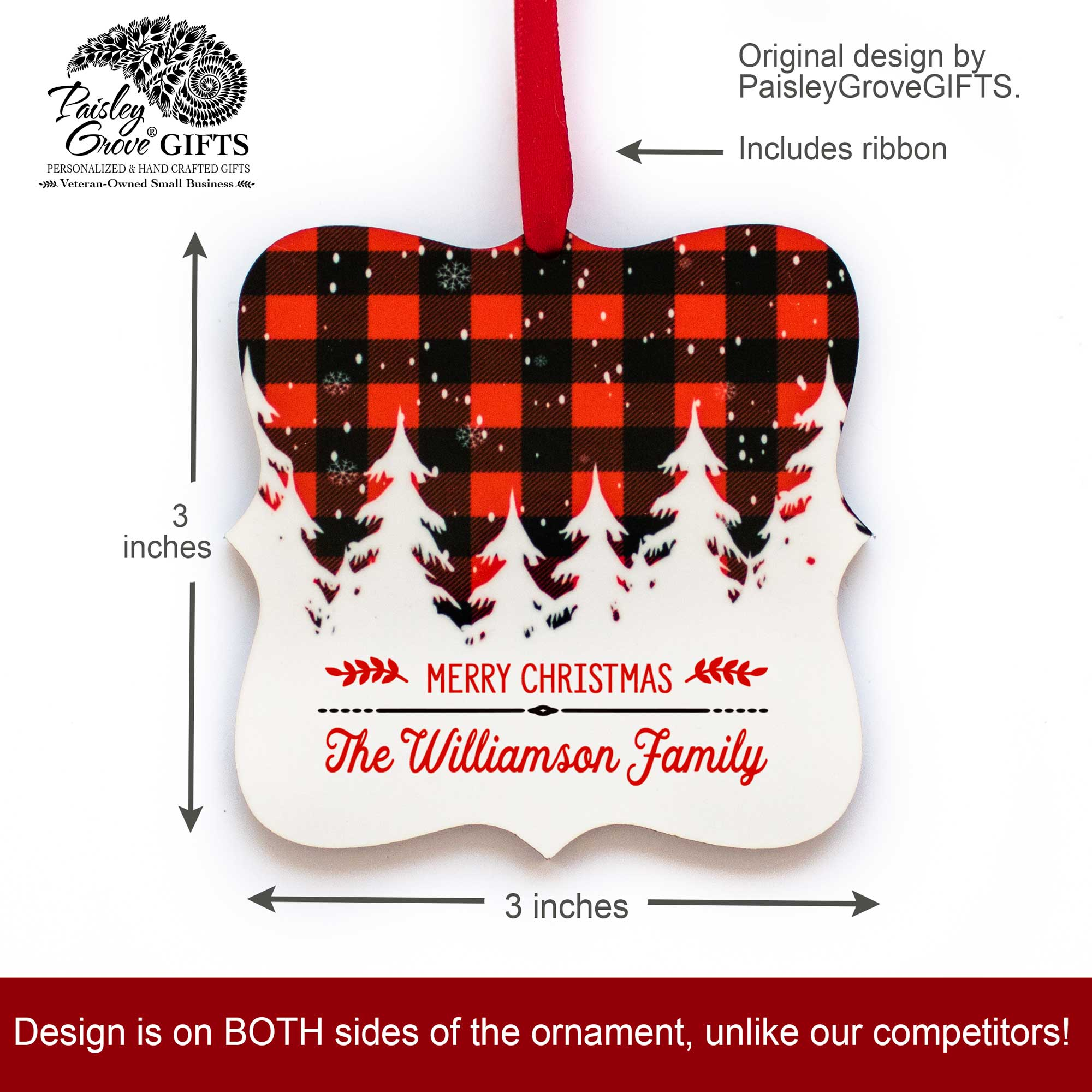 CopyrightPaisleyGroveGIFTS S502b 3x3 inch Holiday Ornament Customized with Last Name Christmas Decor