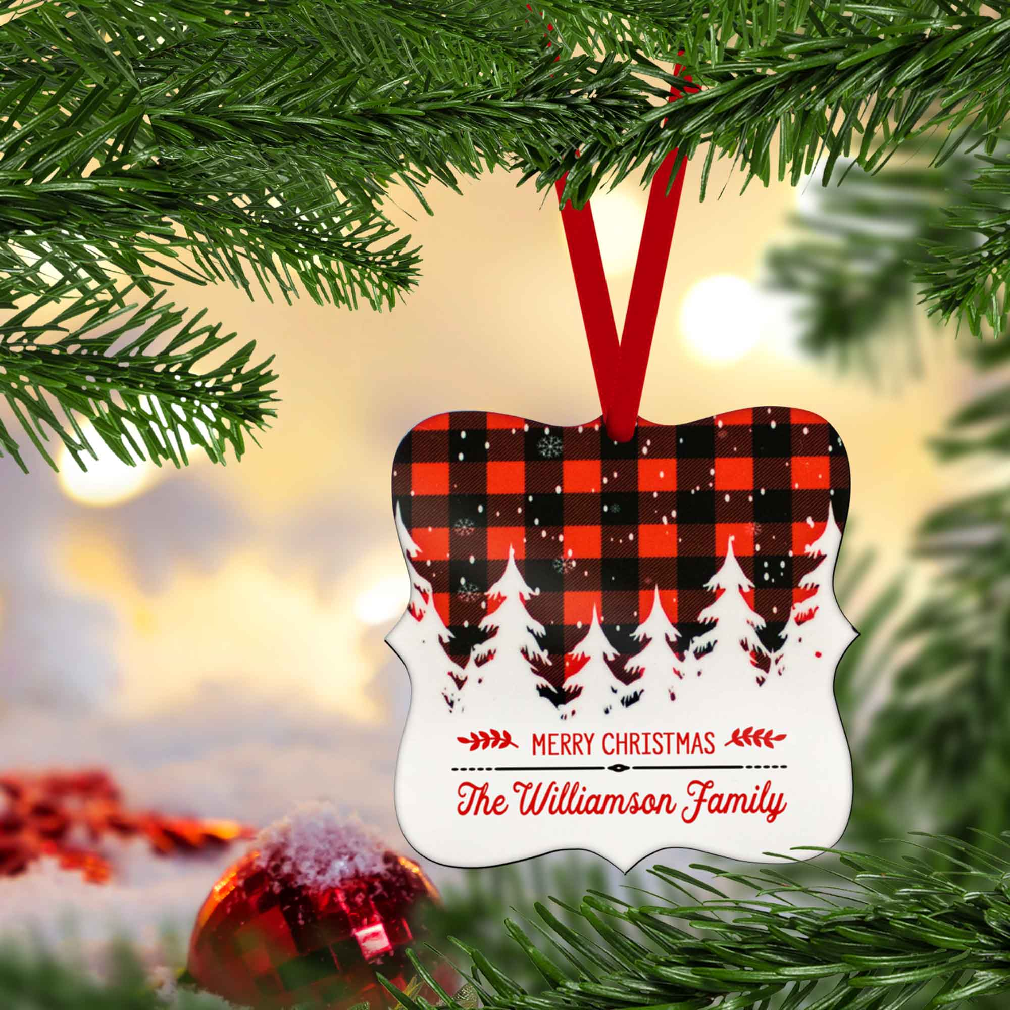 CopyrightPaisleyGroveGIFTS S502b Trendy Rustic Woodland Chic Buffalo Plaid Christmas Tree Decor can be personalized