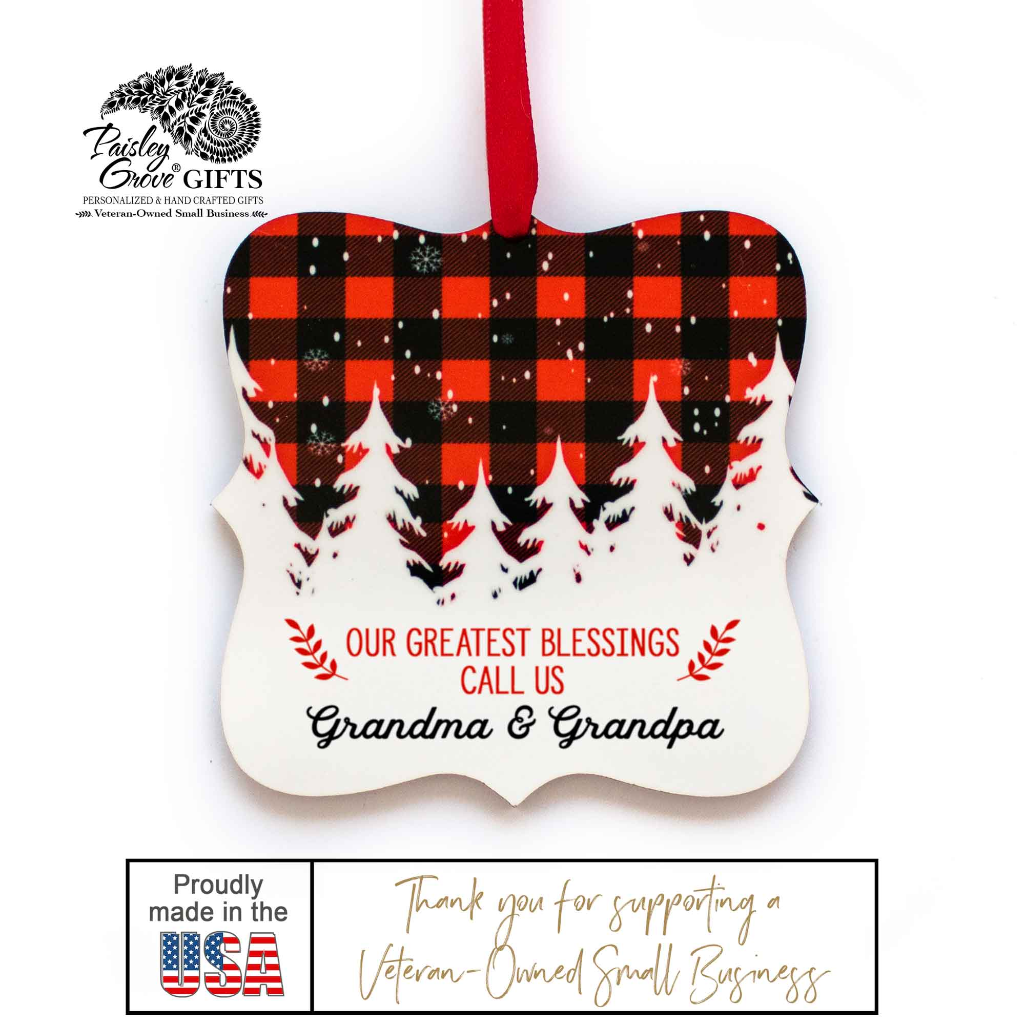 CopyrightPaisleyGroveGIFTS S502e5 Custom Grandma and Grandpa Christmas Ornament Gift Made in the USA