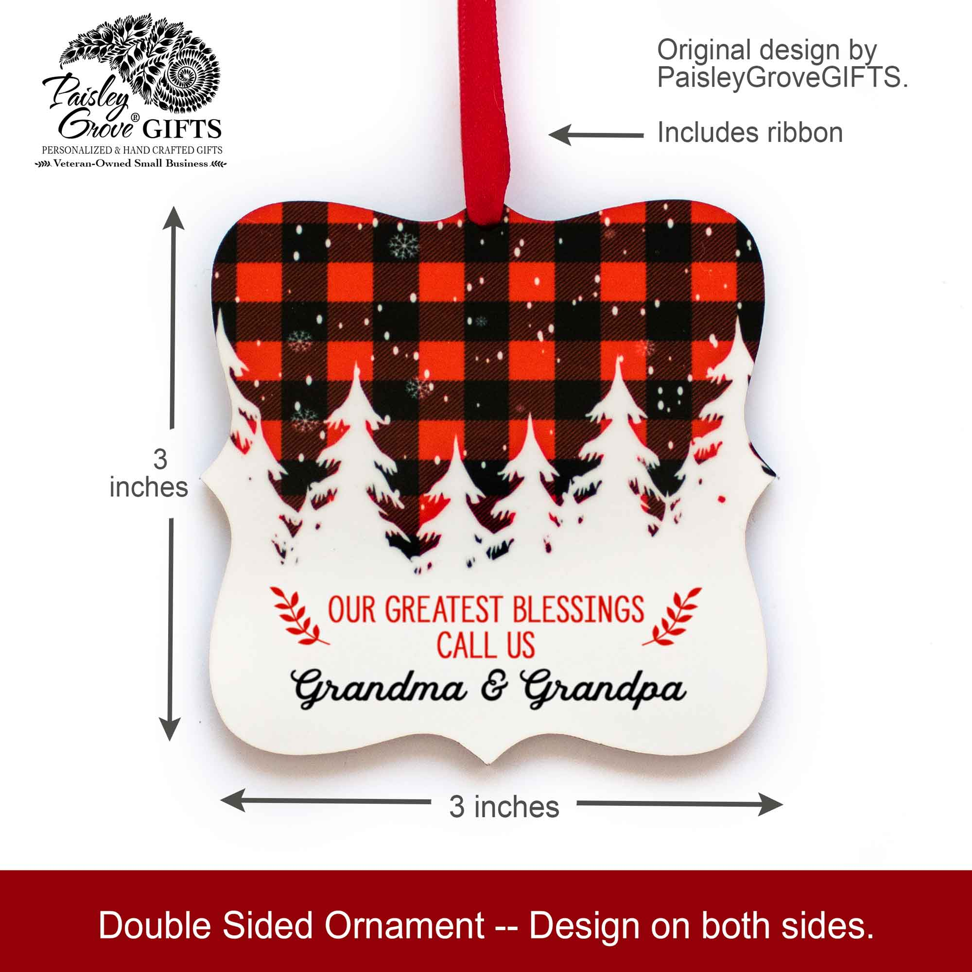 CopyrightPaisleyGroveGIFTS S502e5 3x3 inch Holiday Ornament Sentimental Grandparent Keepsake Gift from Grandchildren