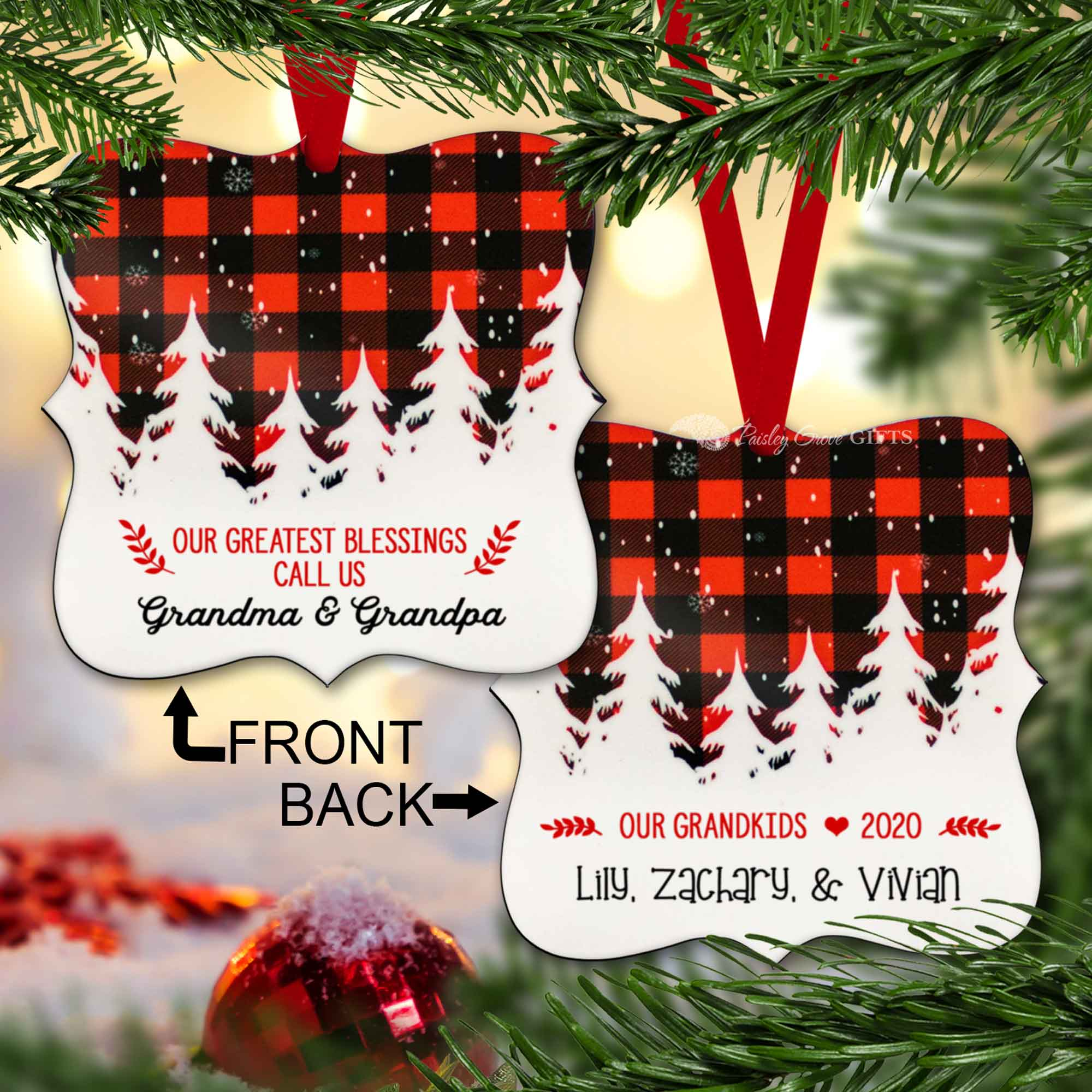 CopyrightPaisleyGroveGIFTS S502e5 Buffalo Plaid Custom Grandparents Ornament Christmas Gift from Grandchildren