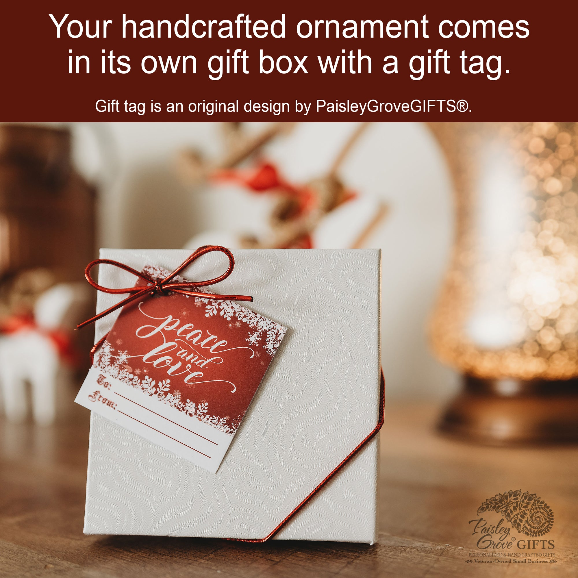 CopyrightPaisleyGroveGIFTS S502e5 Personalized Grandma and Grandpa Ornament from grandchildren with gift box and gift tag