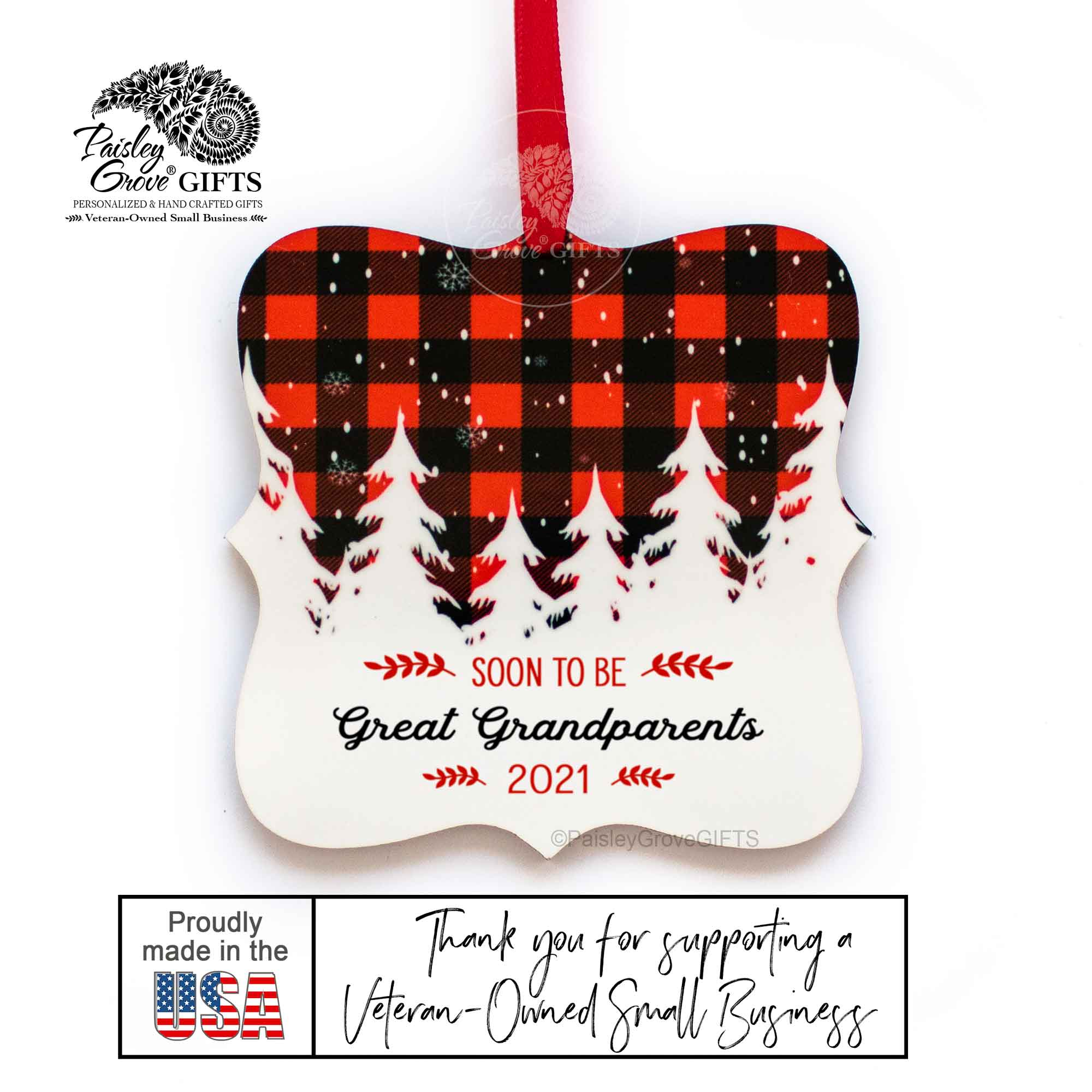 CopyrightPaisleyGroveGIFTS S502e6 Soon to be great grandparents ornament is made in usa