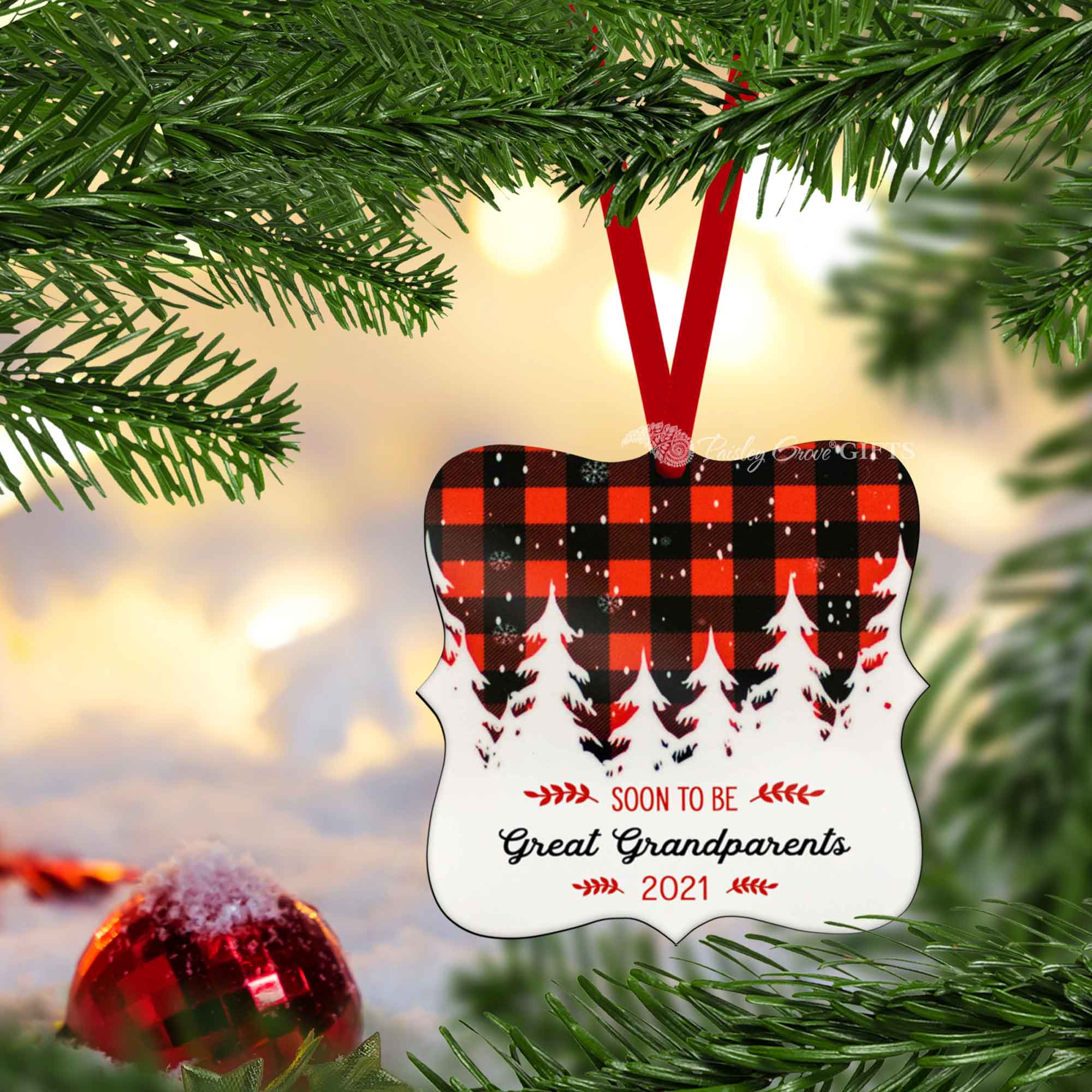 CopyrightPaisleyGroveGIFTS S502e6 Buffalo Plaid Christmas ornament for soon to be great grandparents