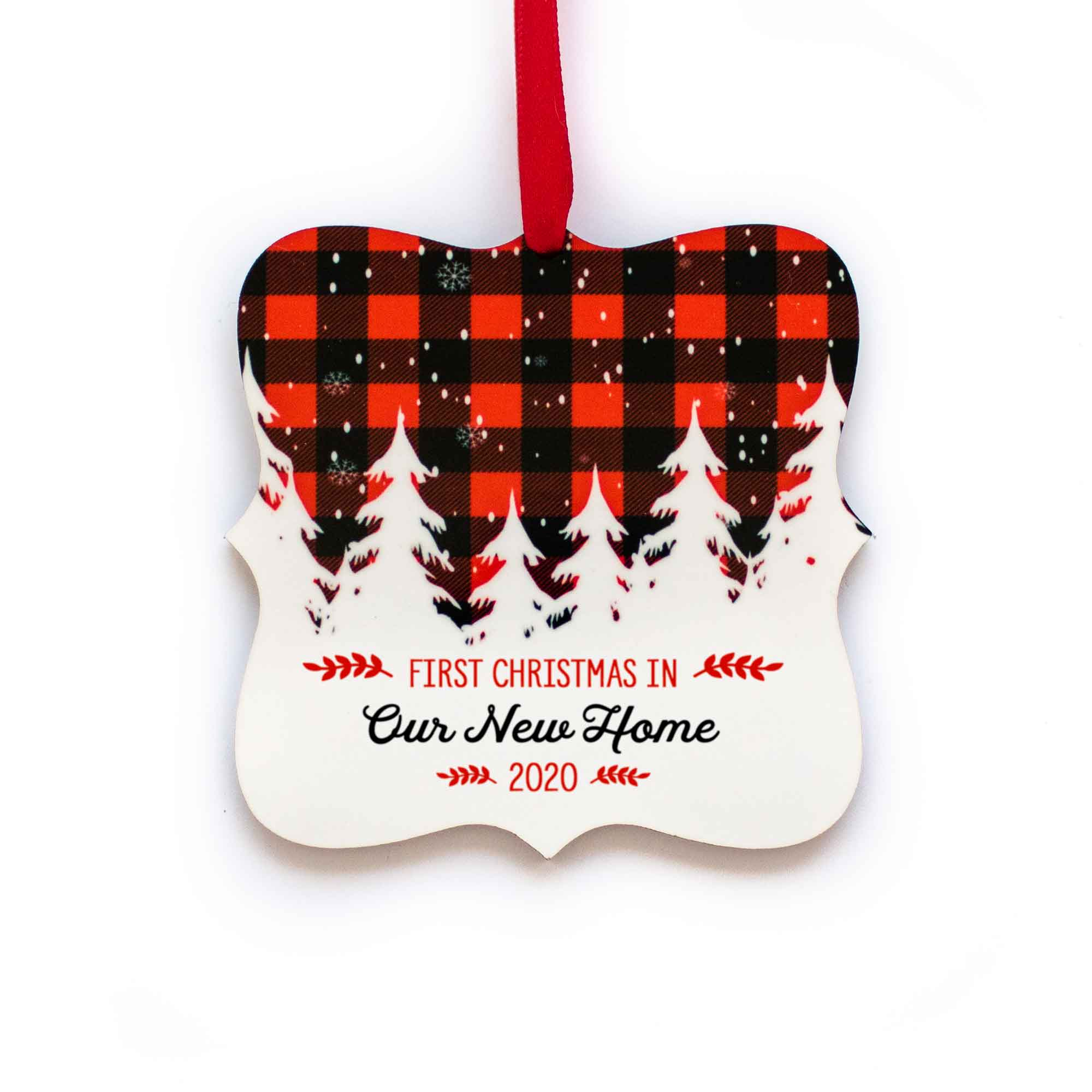CopyrightPaisleyGroveGIFTS S502g Our New Home Christmas Ornament with ribbon in red and black buffalo check design