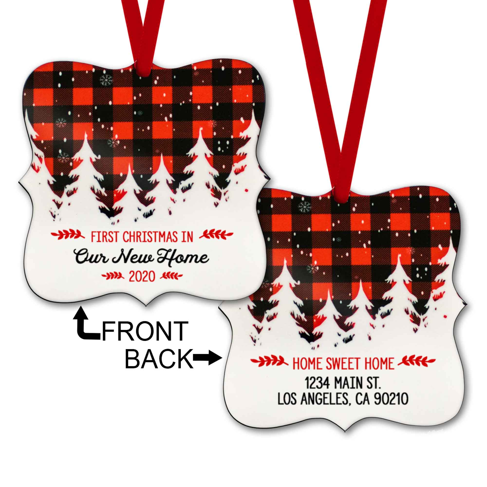 S502h-Copyright PaisleyGroveGIFTS-1-white Personalized Ornament First Christmas in our new home 2020 with home address buffalo plaid with red ribbon