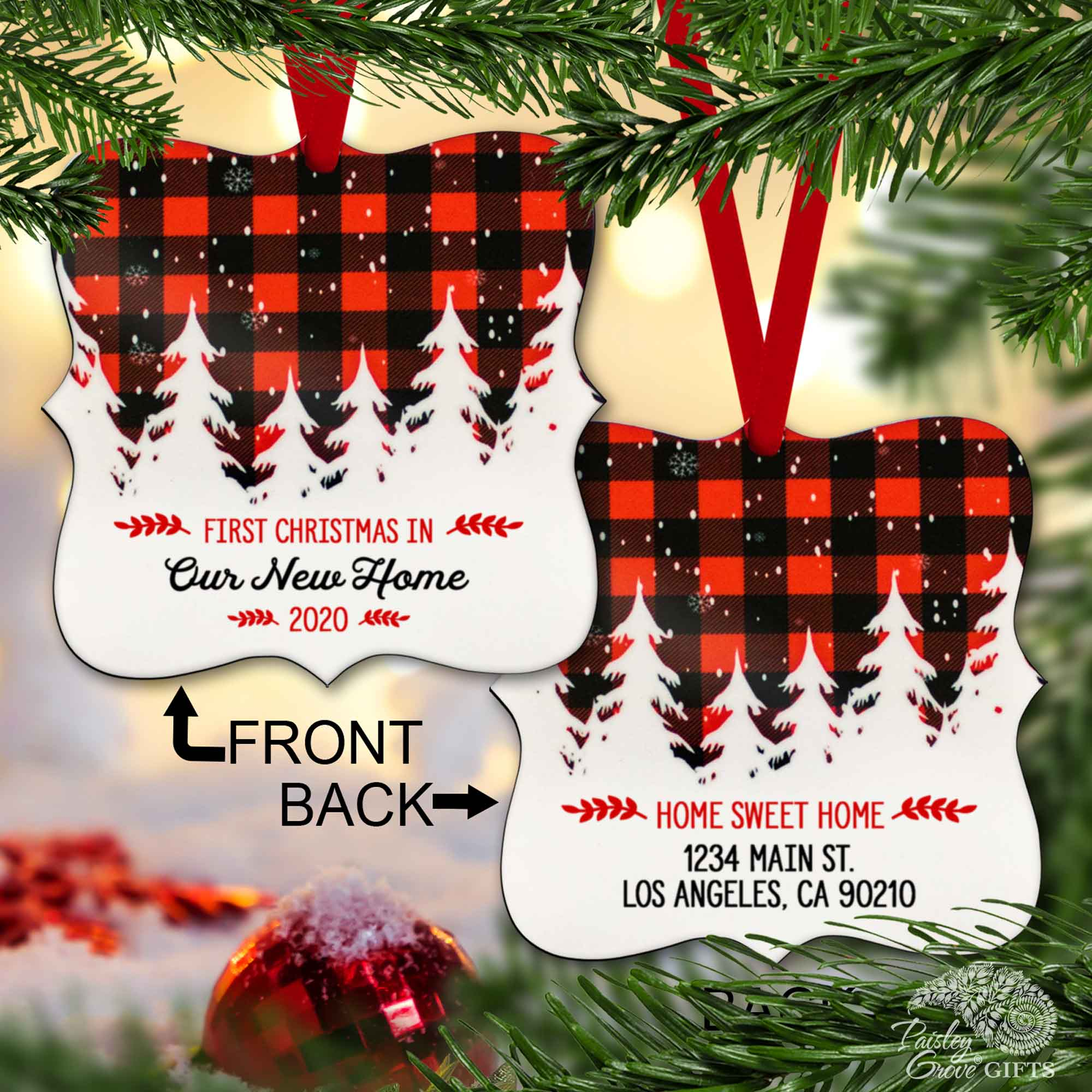 S502h-copyright paisleygrovegifts red and black buffalo plaid personalized first home christmas ornament 2020