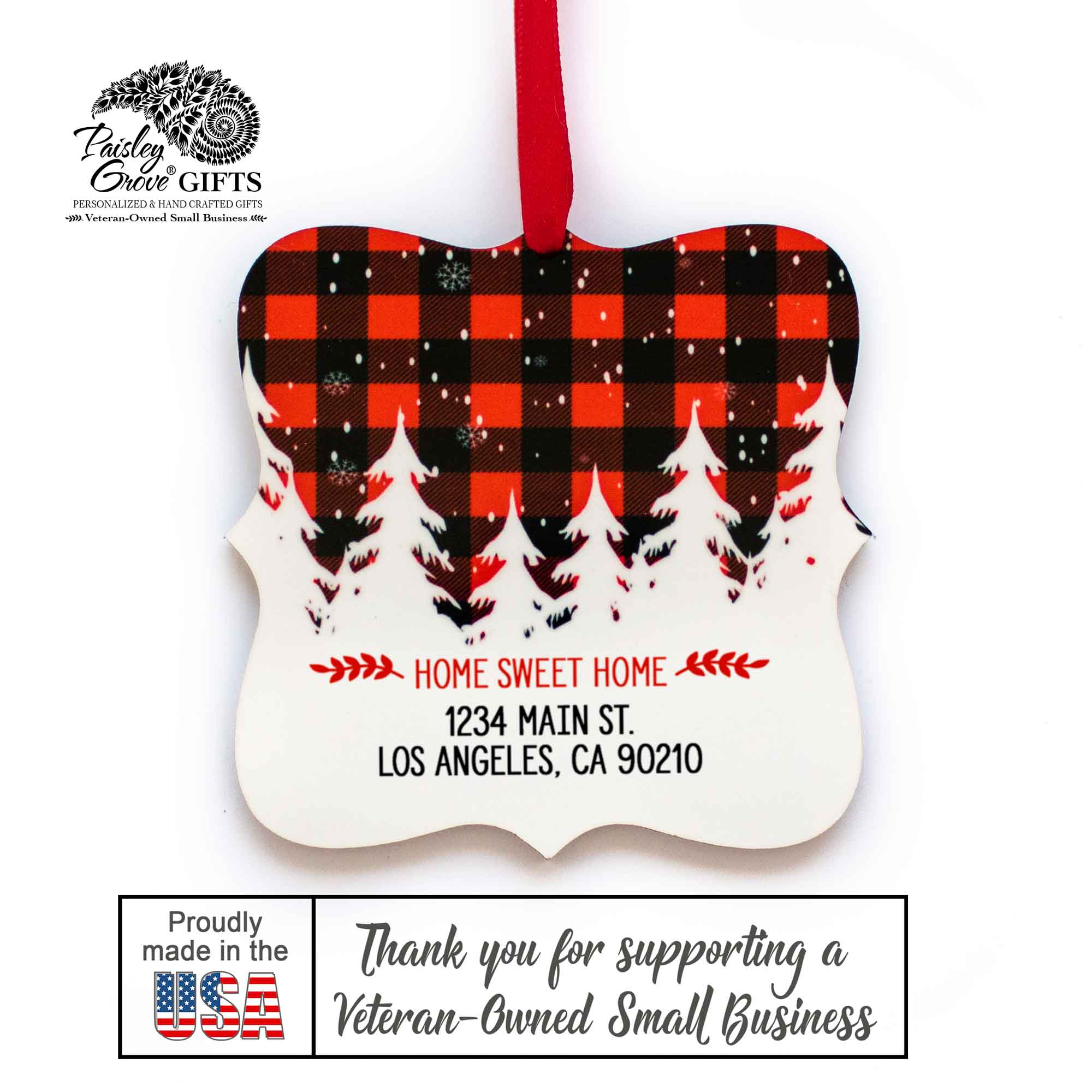CopyrightPaisleyGroveGIFTS S502h Our First Christmas in our New Home Christmas Ornament Customized Gift Made in the USA