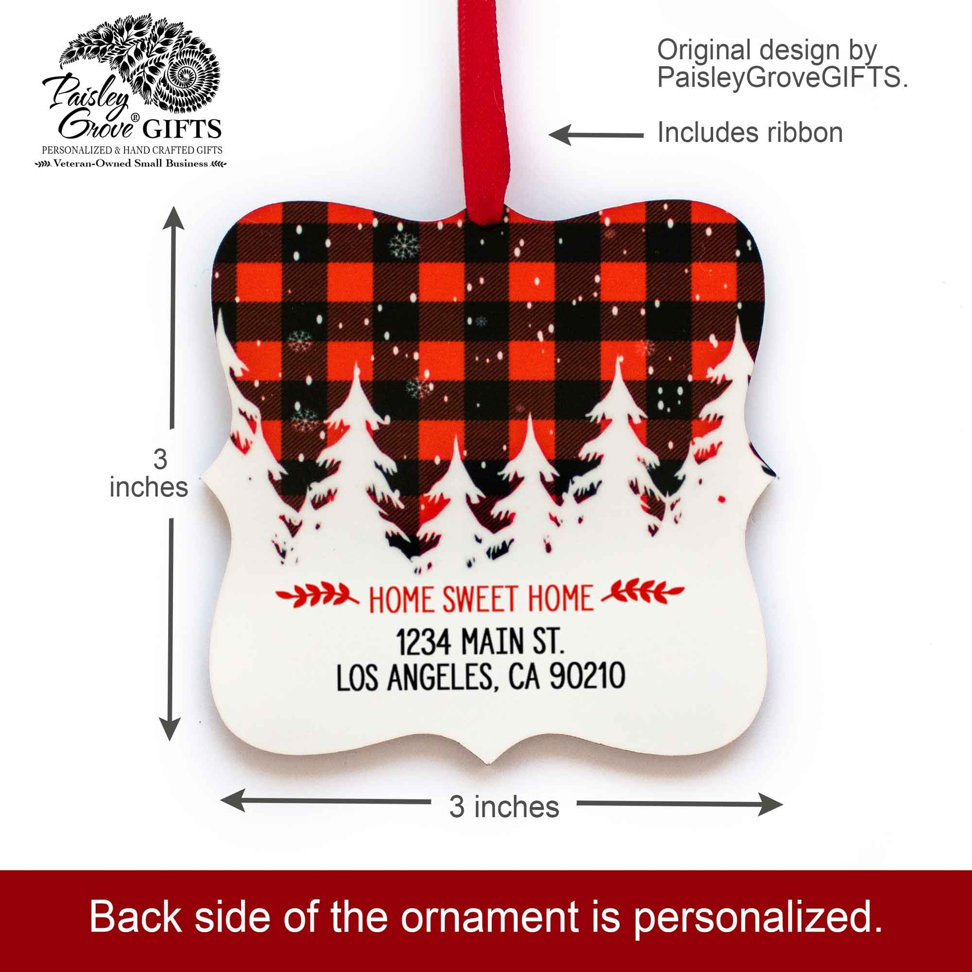 CopyrightPaisleyGroveGIFTS S502h 3x3 inch Holiday Ornament Sentimental New Homeowner Custom Christmas Keepsake