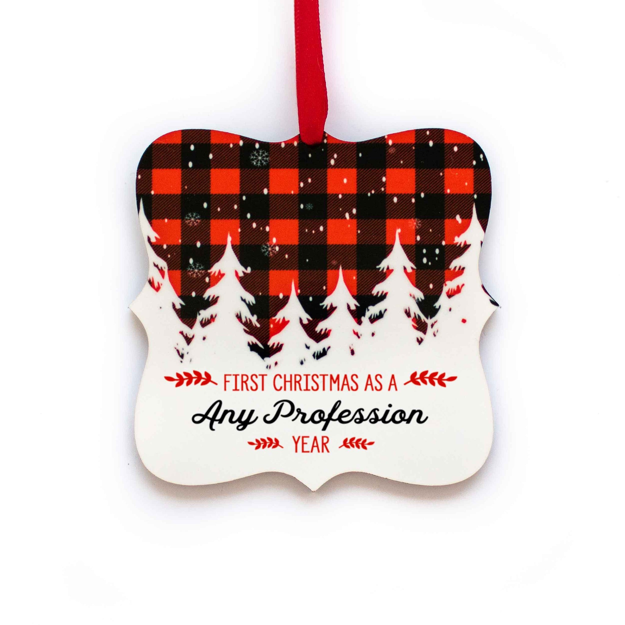 CopyrightPaisleyGroveGIFTS S502k Customized First Christmas Ornament with ribbon in red and black buffalo plaid design