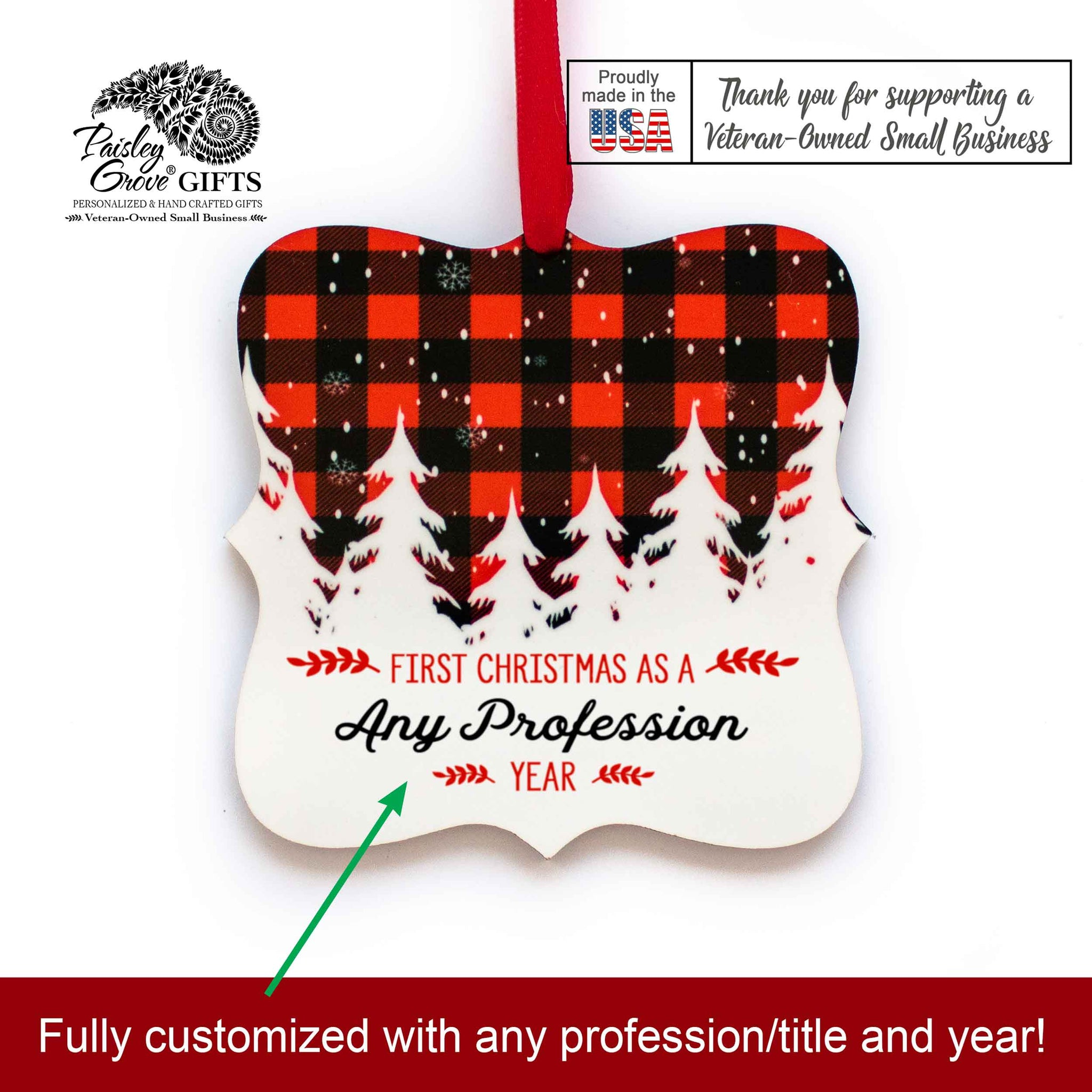 CopyrightPaisleyGroveGIFTS S502k Buffalo Plaid Customized Christmas Ornament Gift Made in the USA