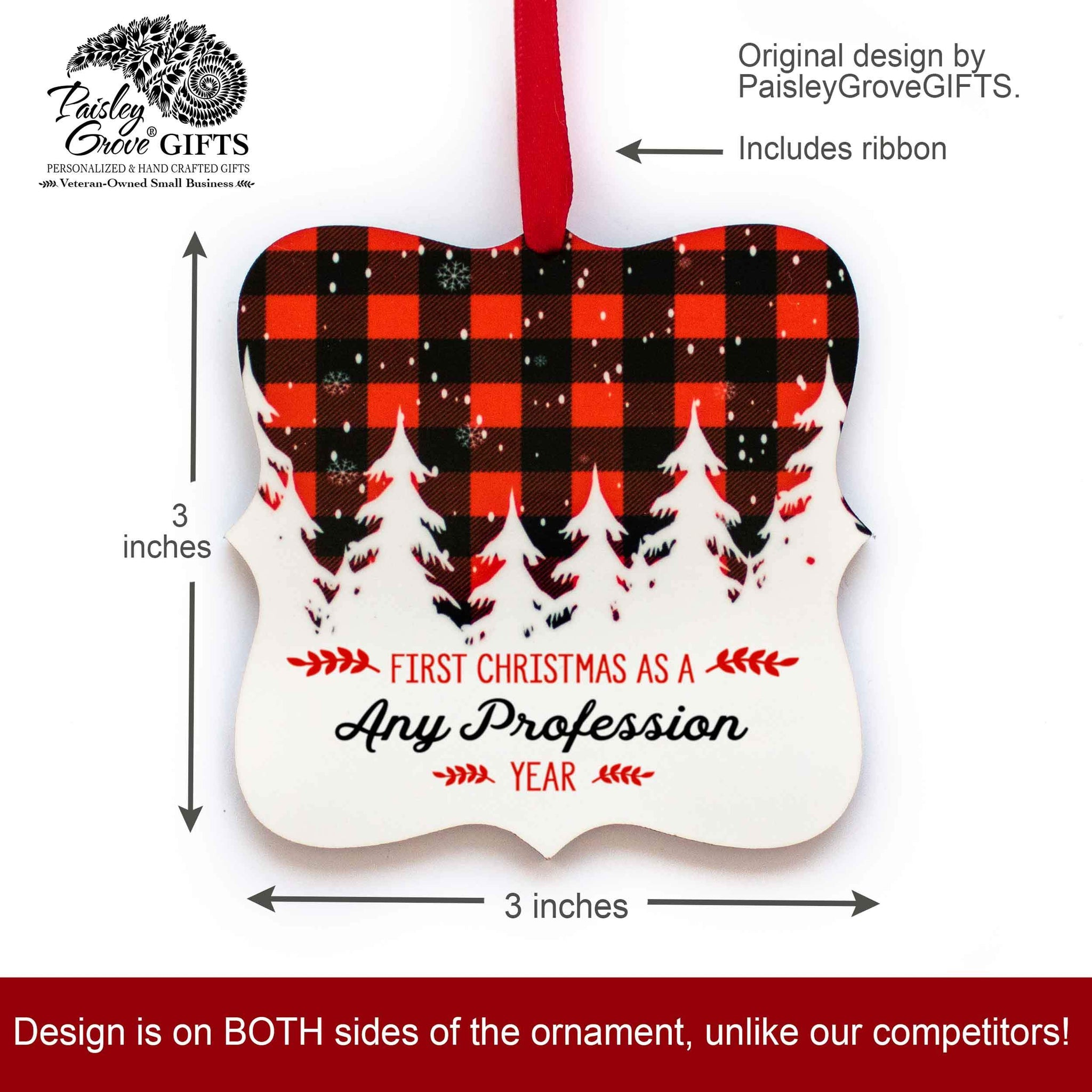 CopyrightPaisleyGroveGIFTS S502k Our 1st Christmas Ornament with any custom message, 3 inches x 3 inches, with ribbon