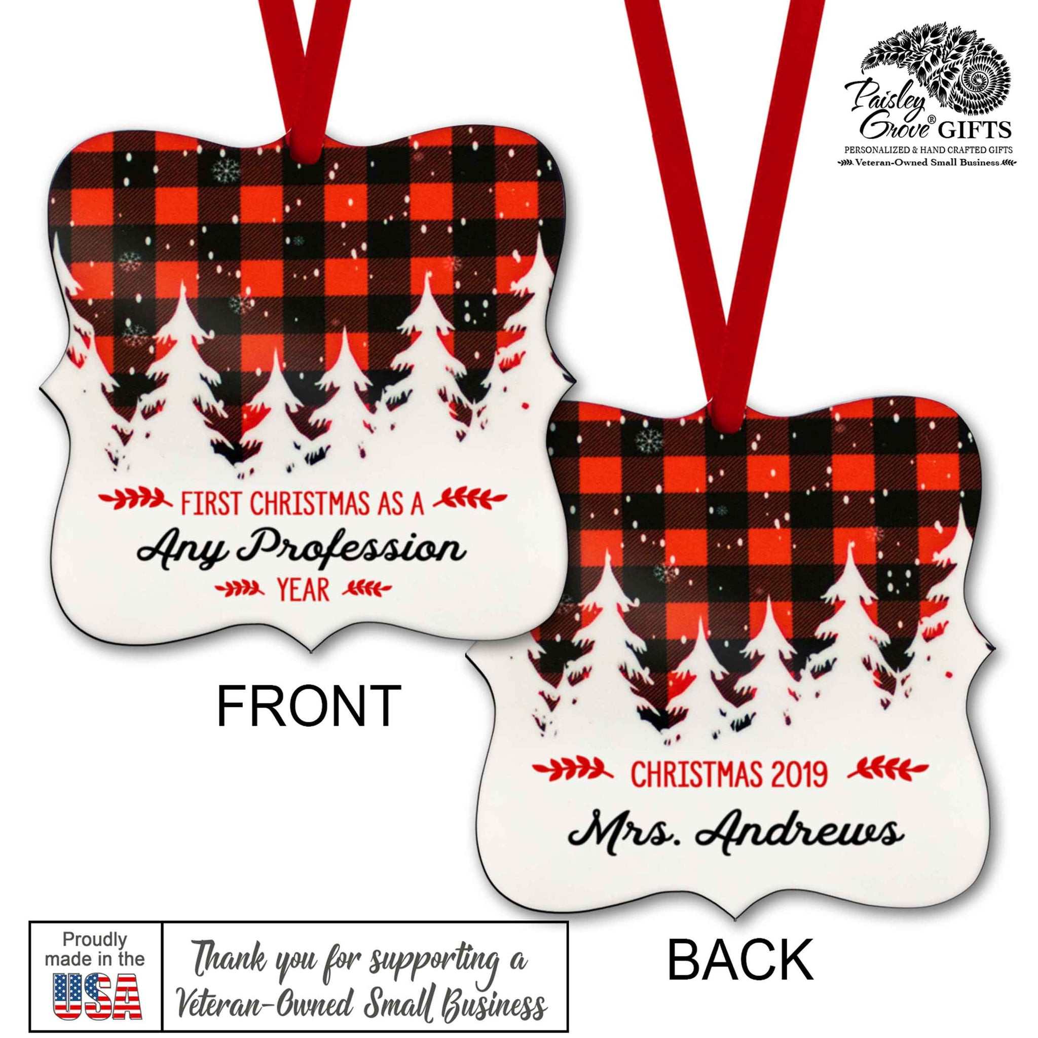 CopyrightPaisleyGroveGIFTS S502m Buffalo Plaid Customized Christmas Ornament Gift Made in the USA