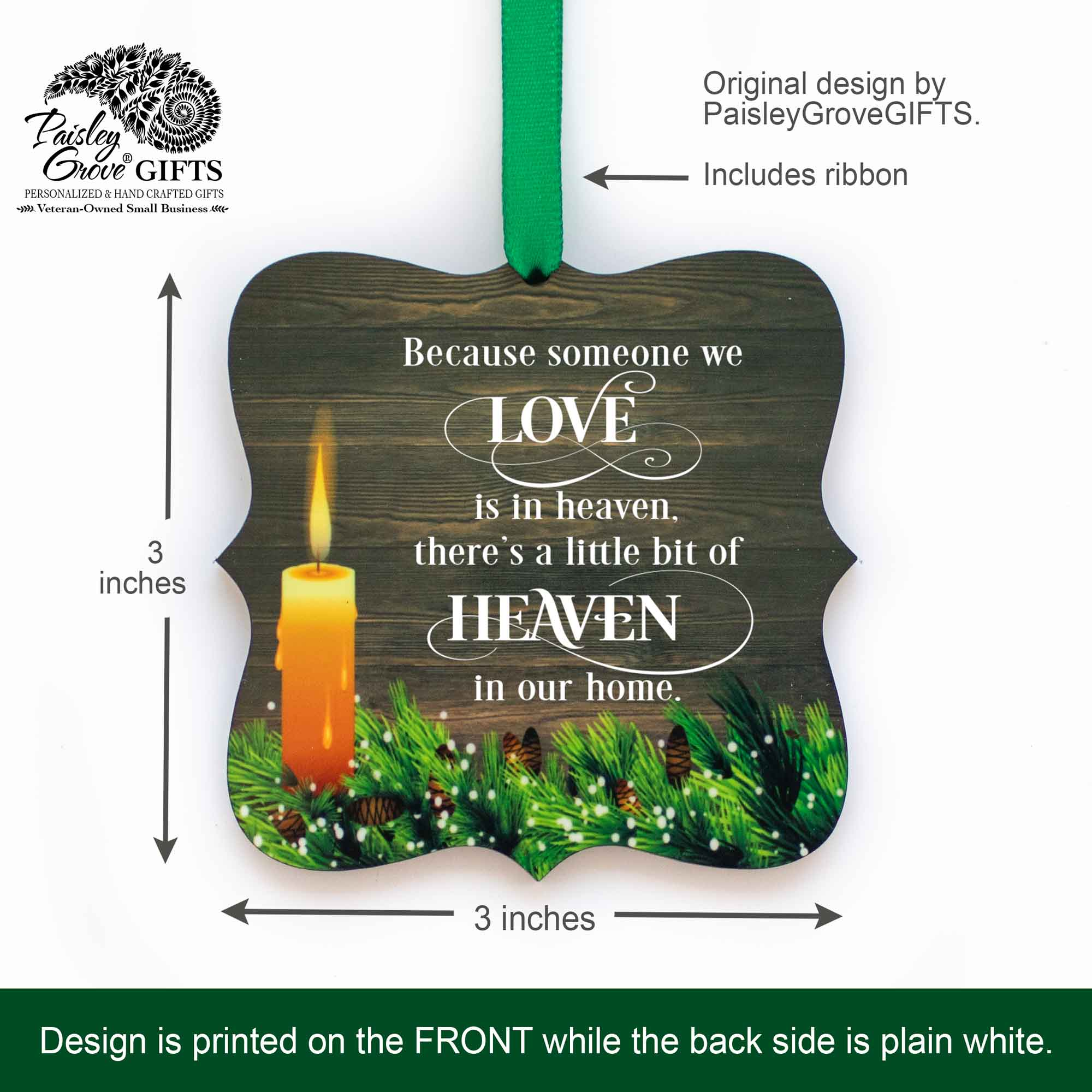 CopyrightPaisleyGroveGIFTS S508a 3x3 inch Memorial Ornament Sympathy Keepsake for Death of Mom Dad