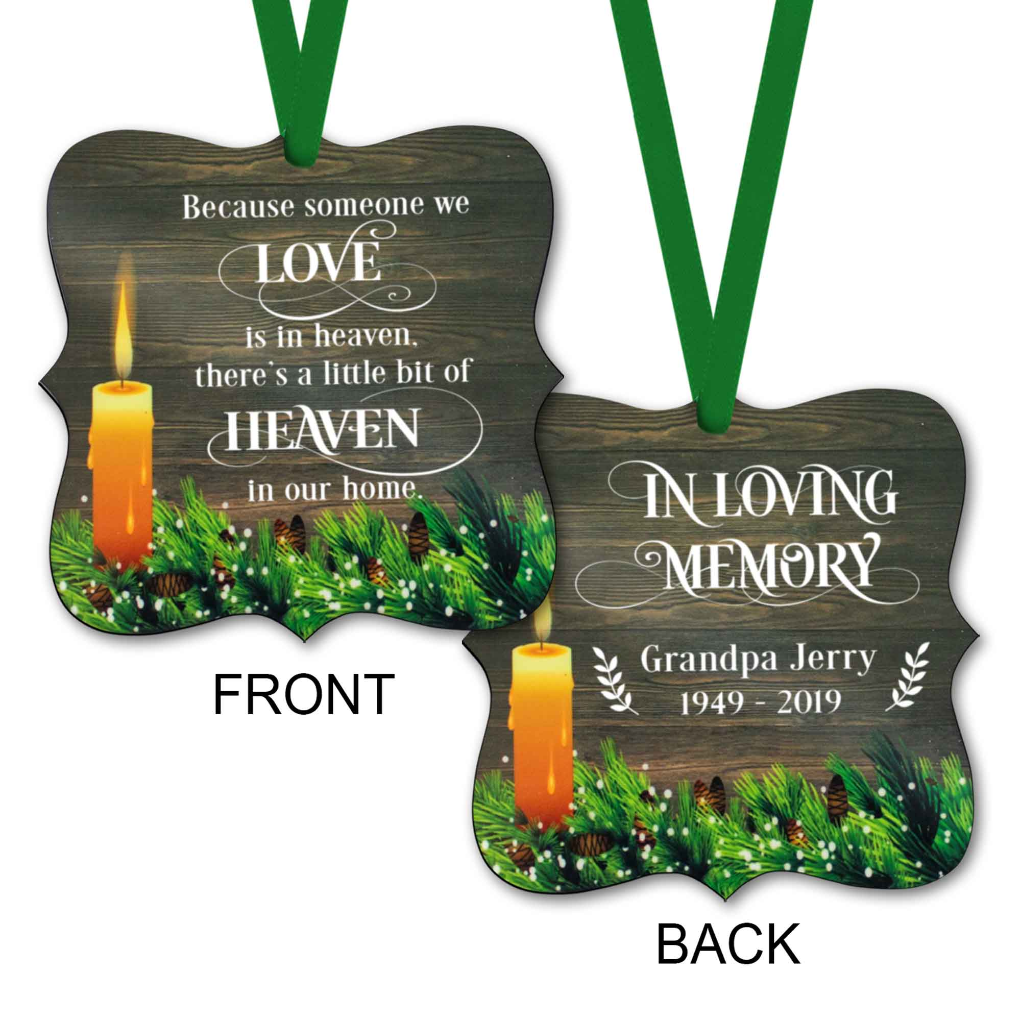 CopyrightPaisleyGroveGIFTS S508a2 Personalized Memorial Ornaments with ribbon in rustic traditional design sympathy gift