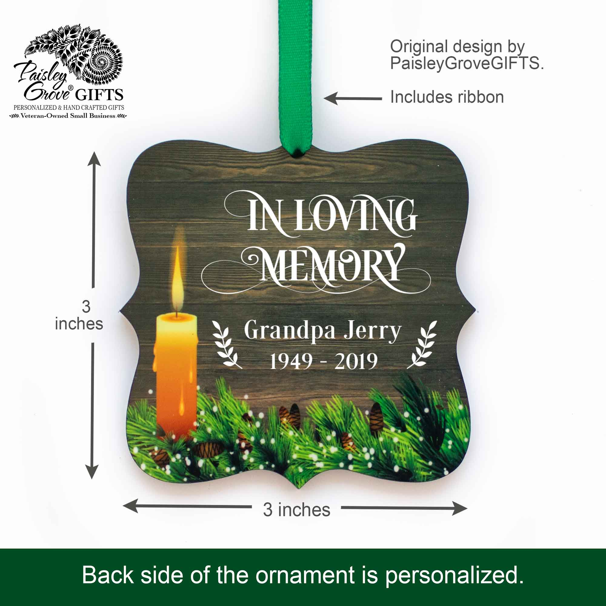 CopyrightPaisleyGroveGIFTS S508a2 3x3 inch Customized Memorial Ornament Sympathy Keepsake for Death of Mom Dad
