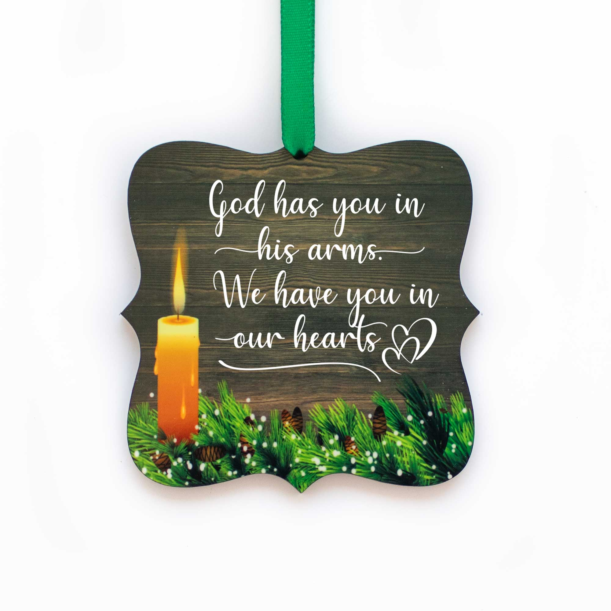 CopyrightPaisleyGroveGIFTS S508c Memorial Ornaments with ribbon in rustic traditional design sympathy gift