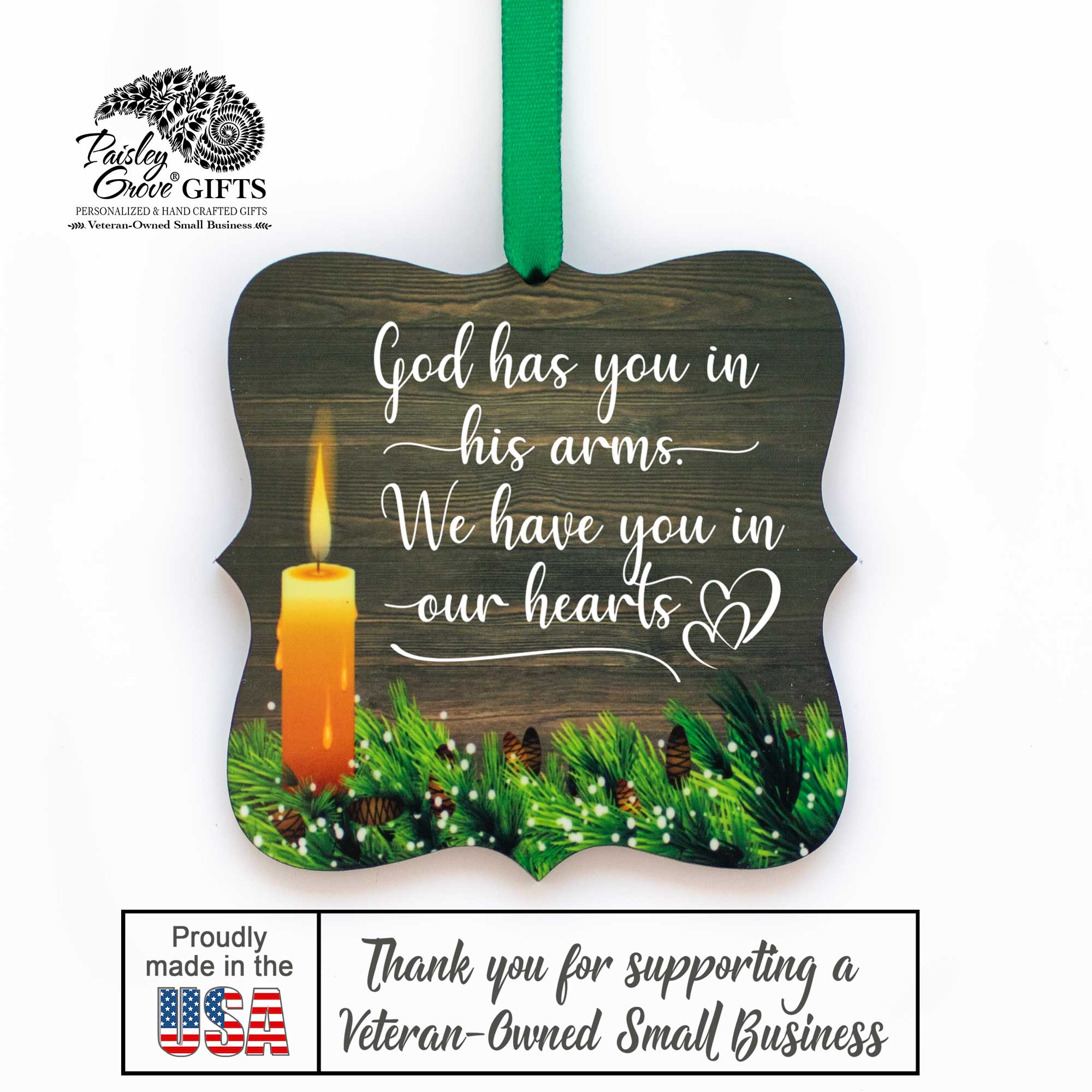 CopyrightPaisleyGroveGIFTS S508c In Loving Memory Christmas Ornament Bereavement Gift Made in the USA