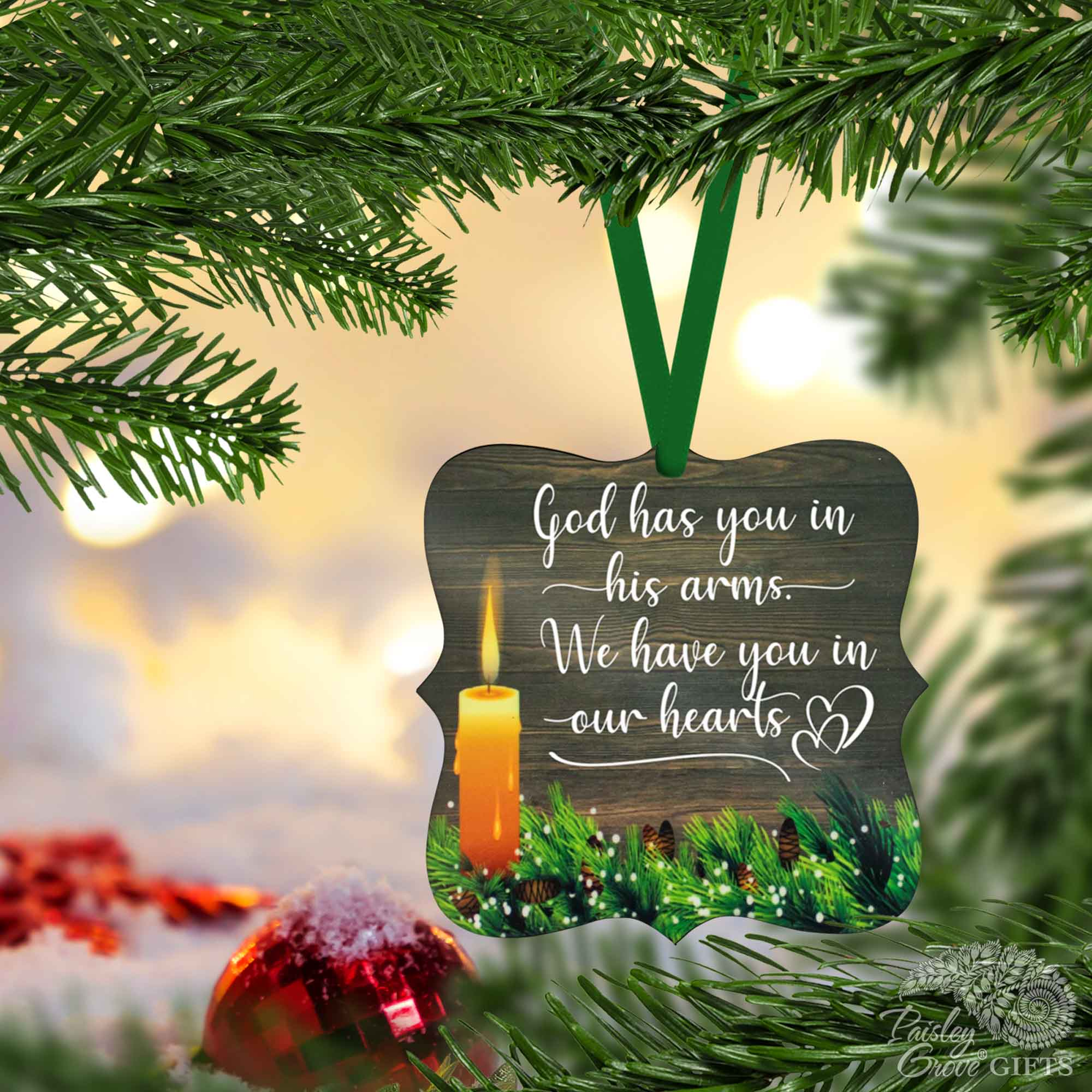 CopyrightPaisleyGroveGIFTS S508c Bereavement Christmas Ornament for Death of Loved One Holiday Decor