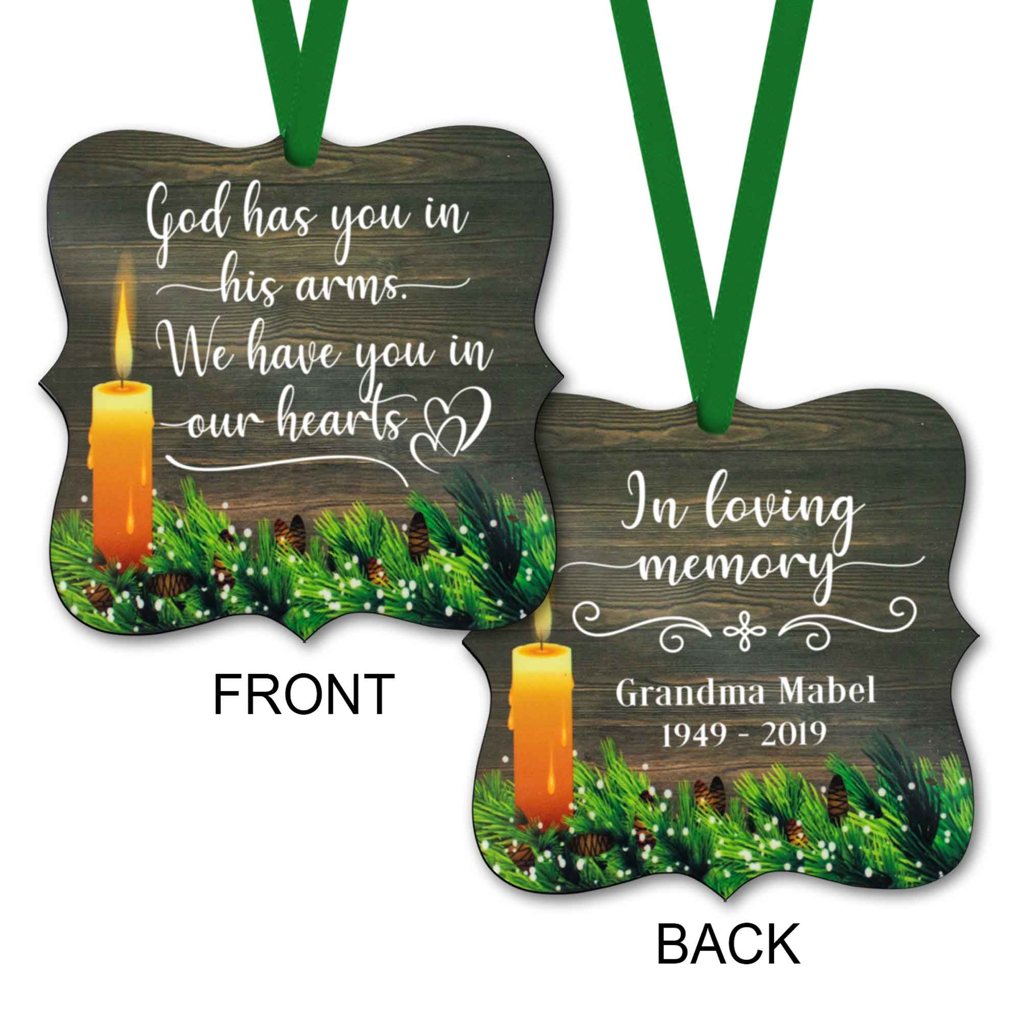CopyrightPaisleyGroveGIFTS S508c2 Customized Memorial Ornaments with ribbon in rustic traditional design sympathy gift