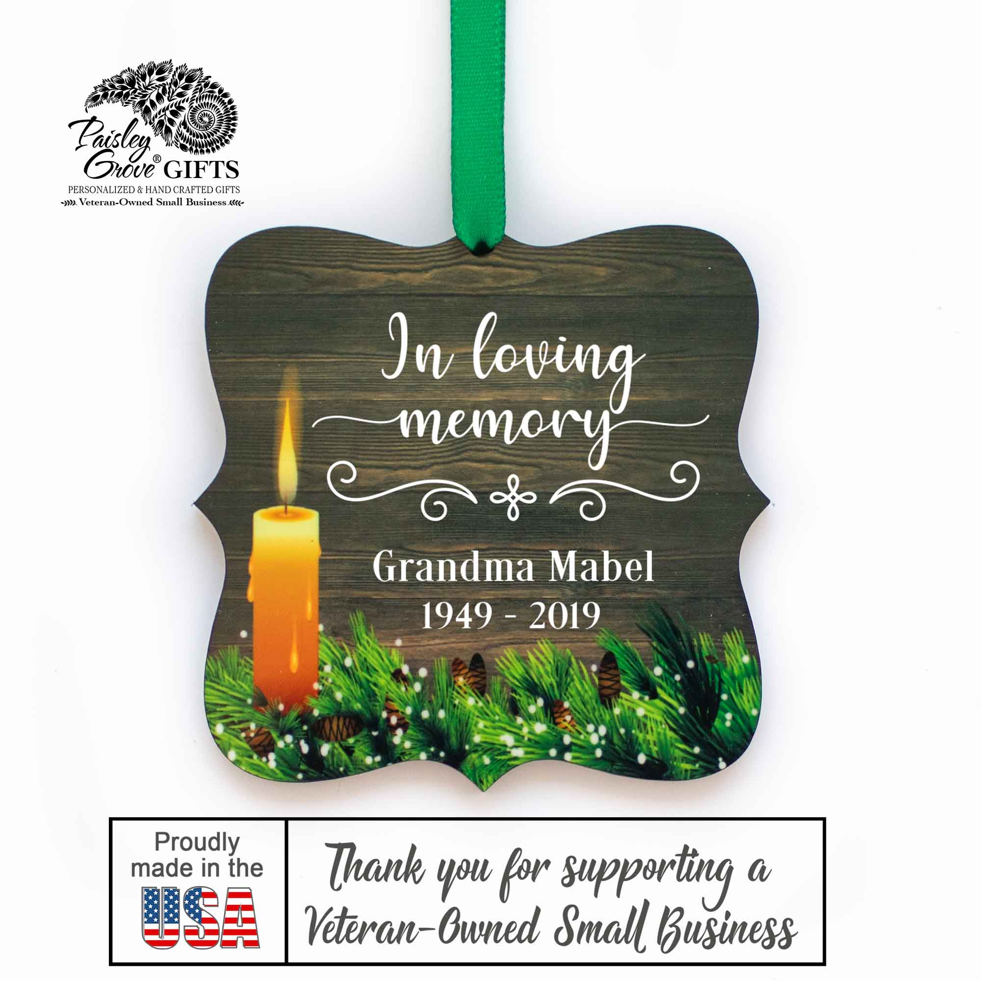 CopyrightPaisleyGroveGIFTS S508c2 In Loving Memory Customized Christmas Ornament Bereavement Gift Made in the USA