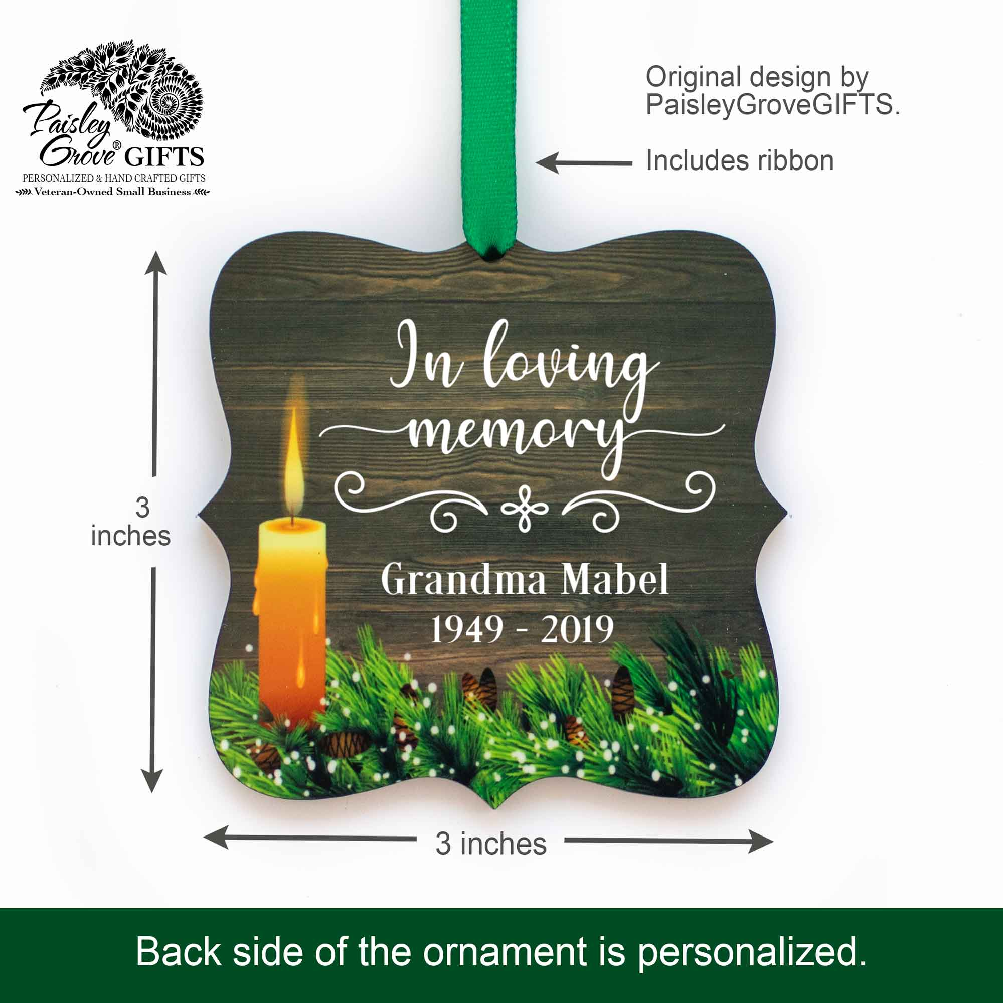 CopyrightPaisleyGroveGIFTS S508c2 3x3 inch Custom Memorial Ornament Sympathy Keepsake for Death of Mom Dad