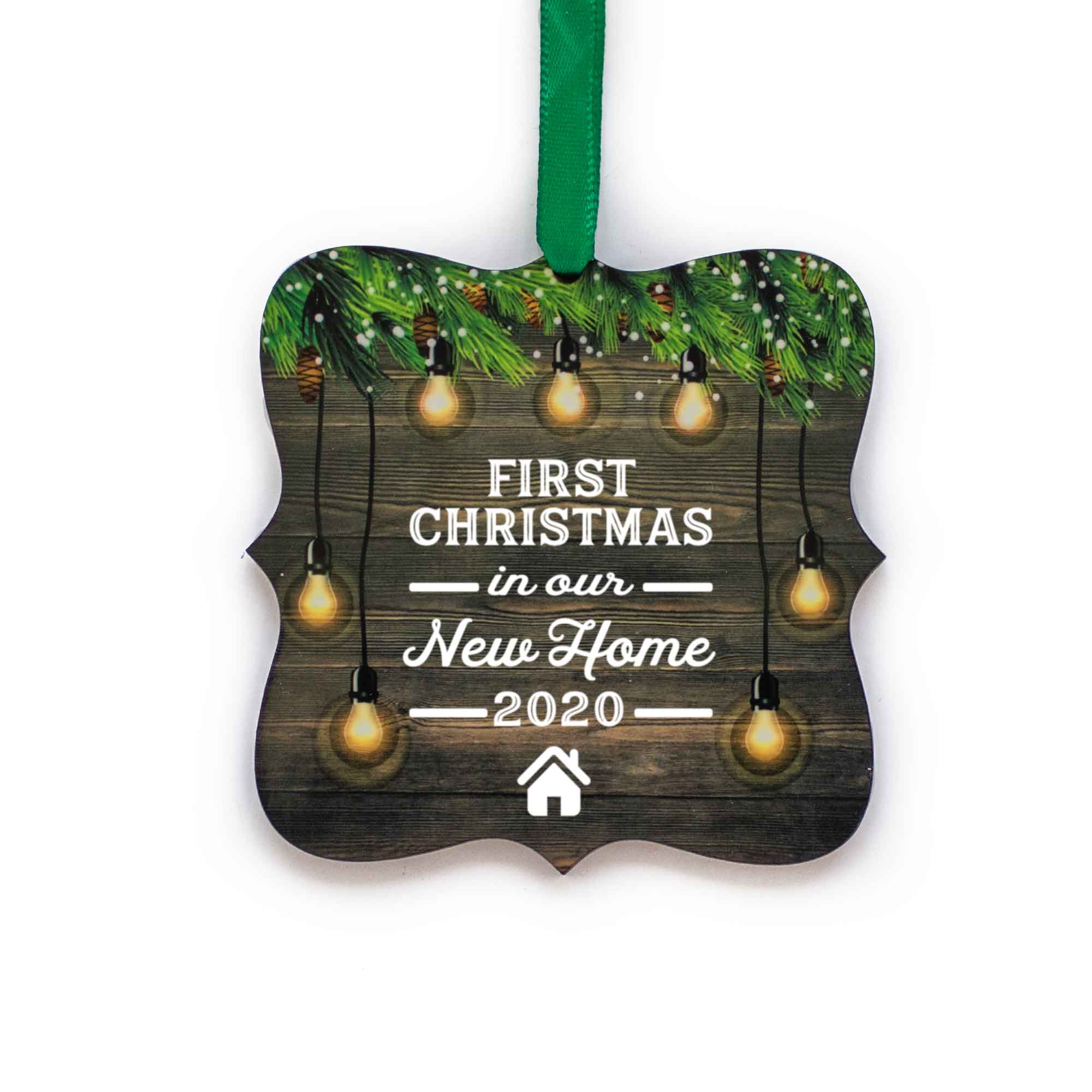 CopyrightPaisleyGroveGIFTS S510m First Christmas in Our New Home 2020 Ornament with ribbon in rustic traditional design