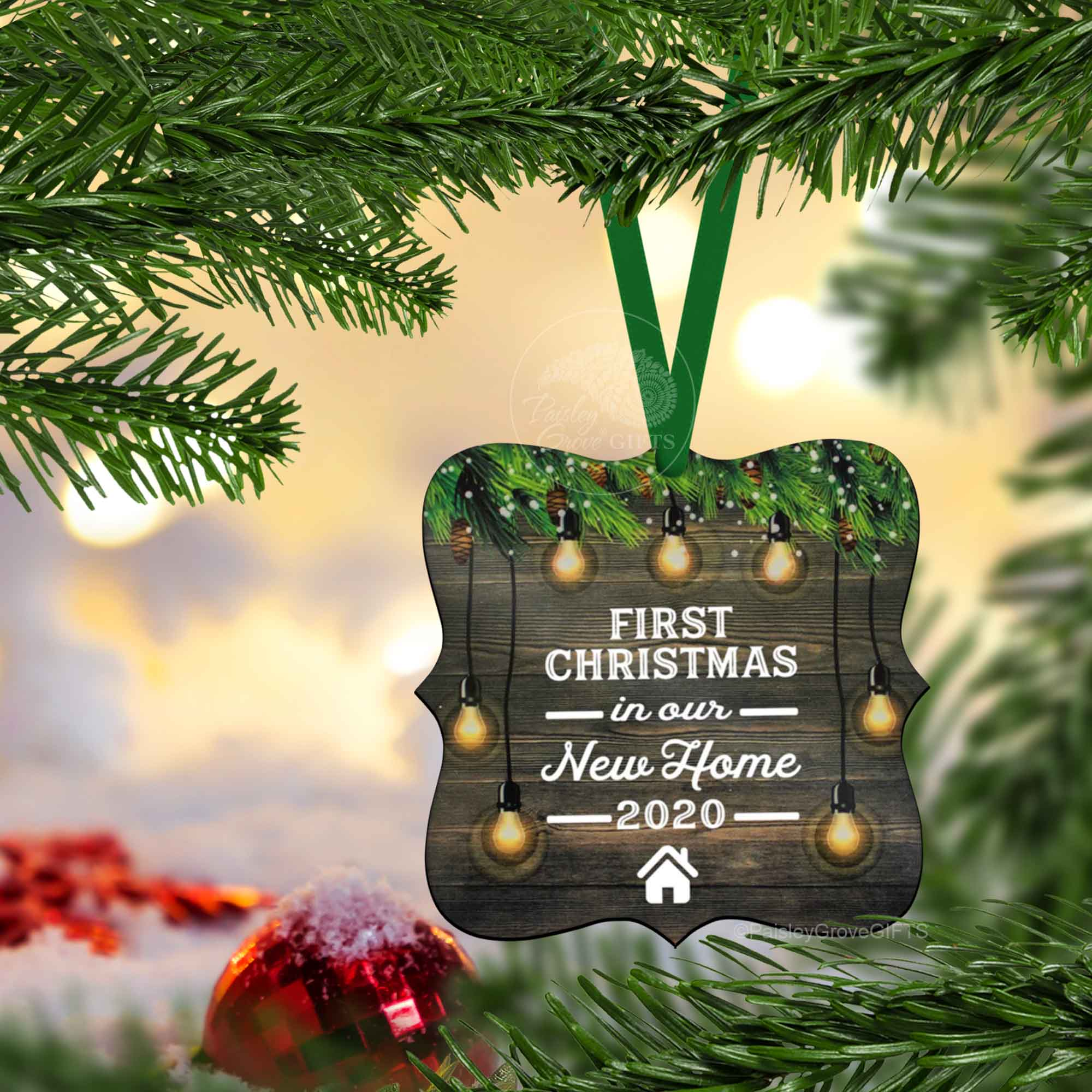CopyrightPaisleyGroveGIFTS S510m 1st Xmas in our new home Holiday Keepsake Ornament Housewarming Gift
