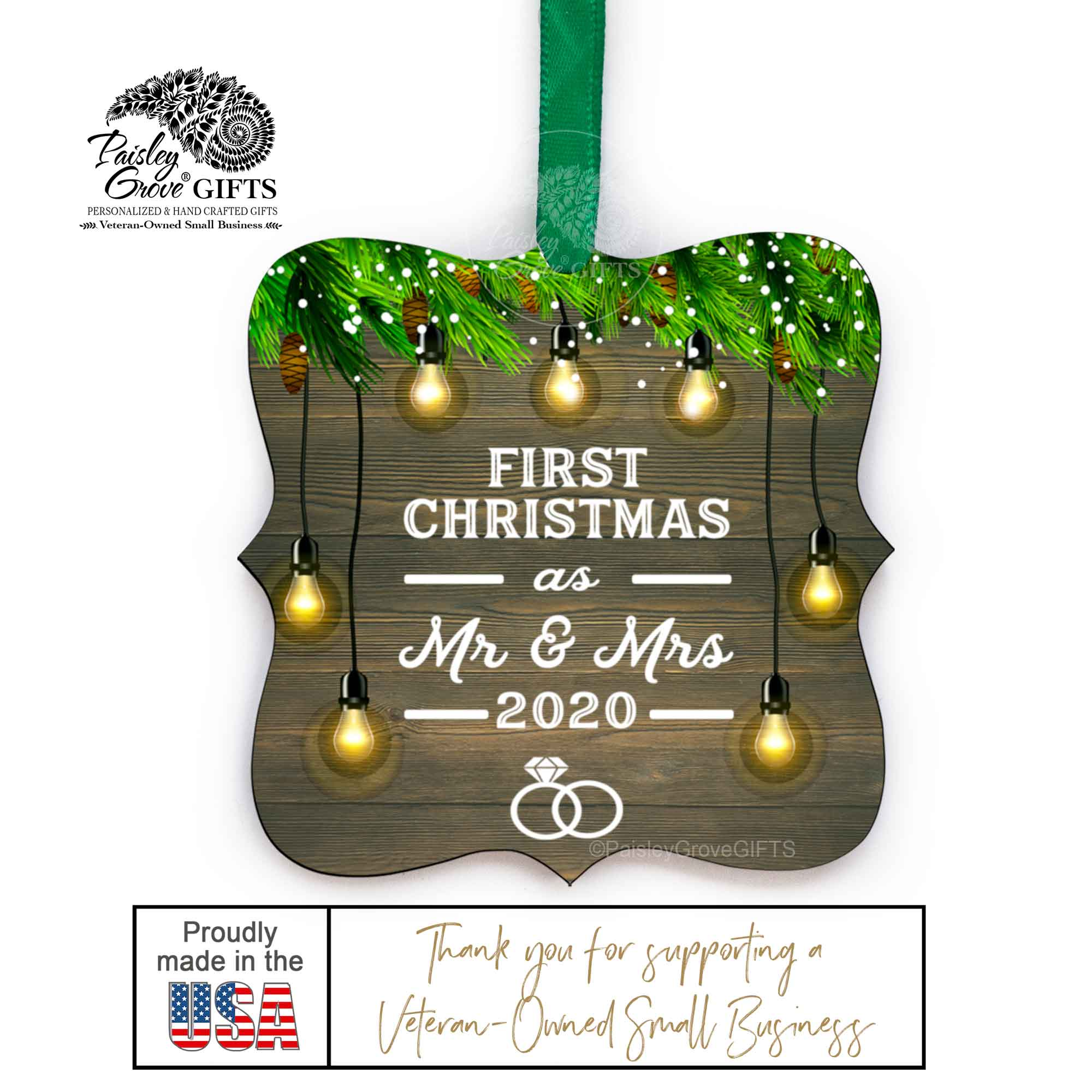 CopyrightPaisleyGroveGIFTS S510c Newlywed Christmas Ornament Wedding Gift Made in the USA
