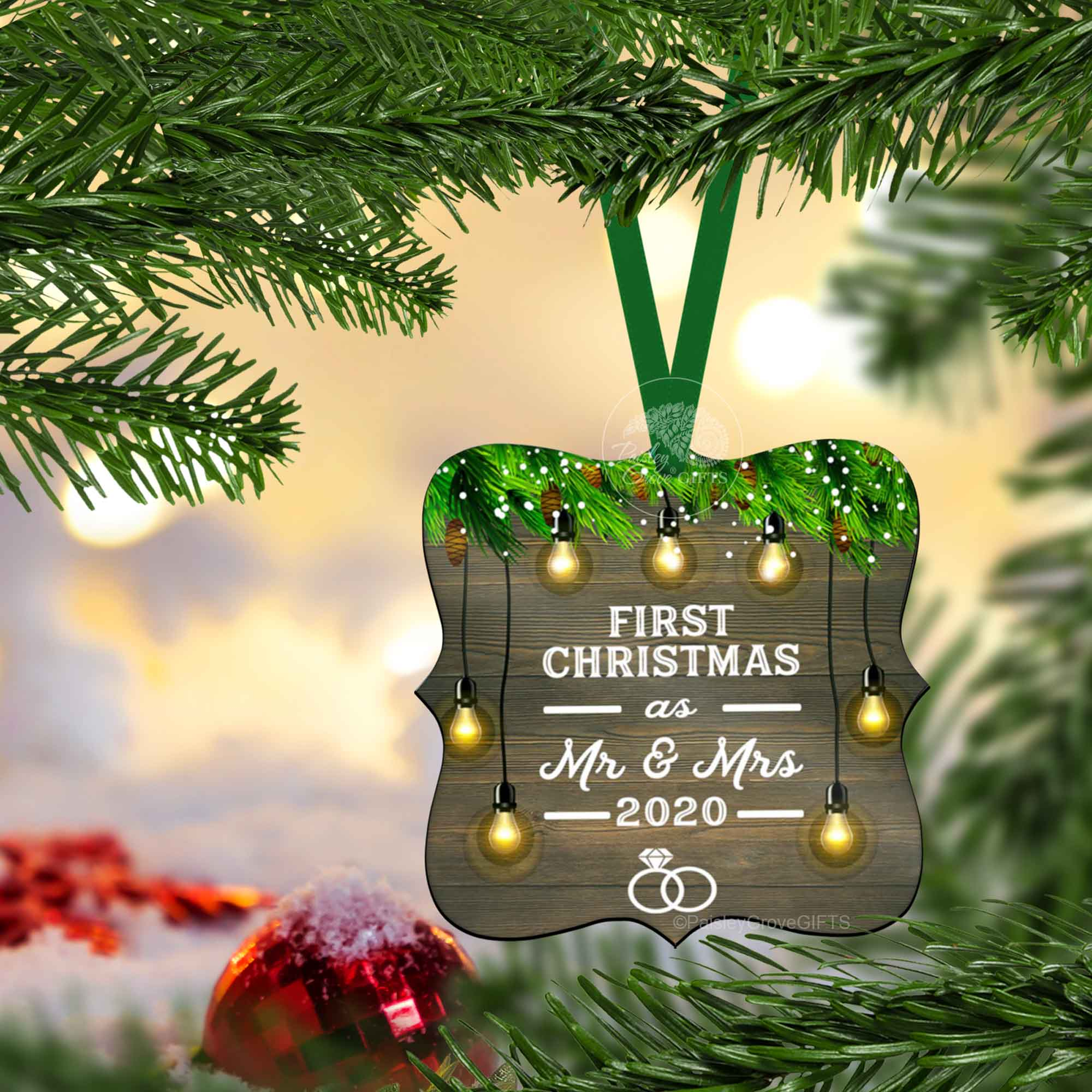 CopyrightPaisleyGroveGIFTS S510c 1st Xmas as Married Couple Ornament on Christmas Tree Holiday Decor