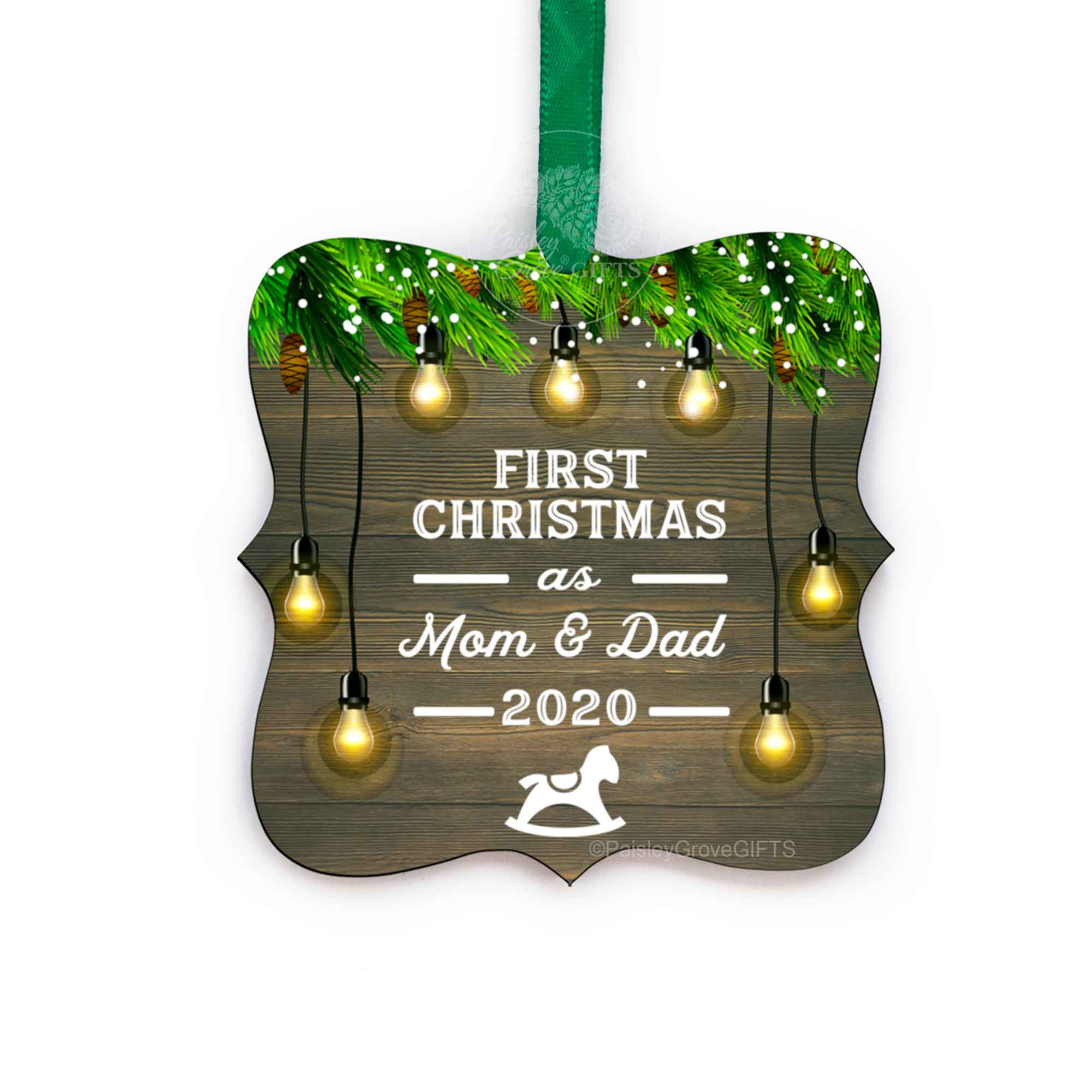 CopyrightPaisleyGroveGIFTS S510e First Christmas as Mom and Dad 2020 Ornament with ribbon in rustic traditional design