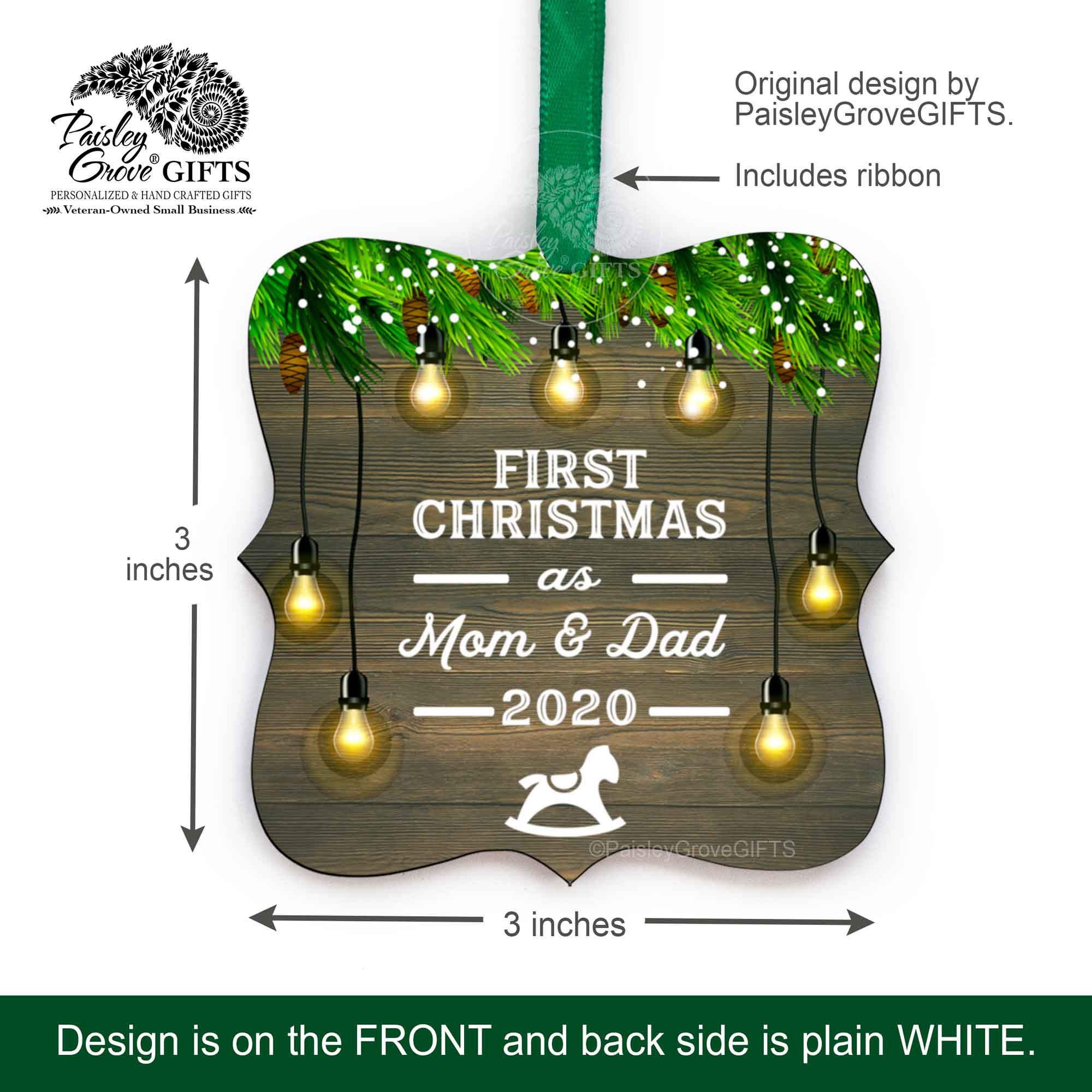 First Christmas As Mom and Dad 2020 Ornament | PaisleyGroveGIFTS S510e