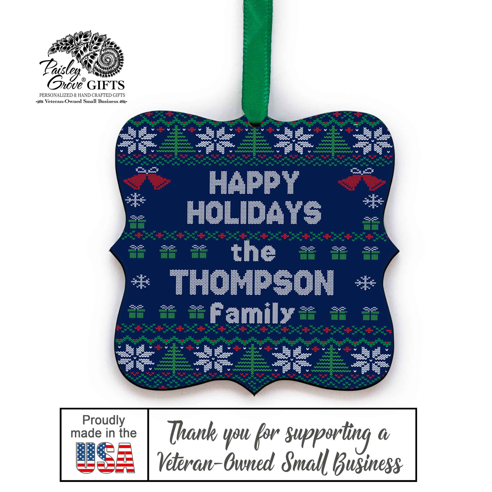 CopyrightPaisleyGroveGIFTS S517a Custom Last Name Christmas Tree Ornament Ugly Xmas Sweater Design Made in the USA