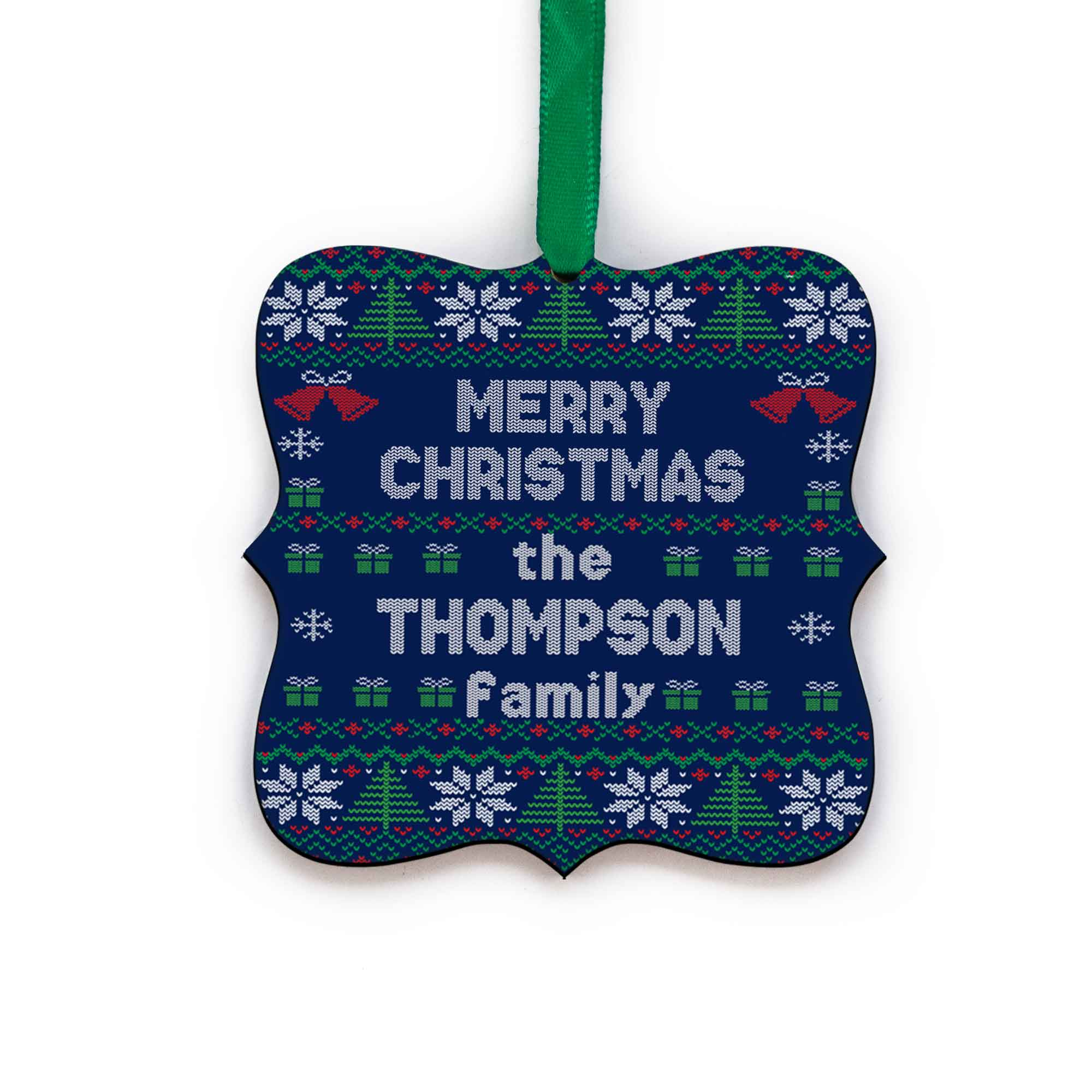 CopyrightPaisleyGroveGIFTS S517b Ugly Christmas Sweater Personalized Last Name Christmas Ornament