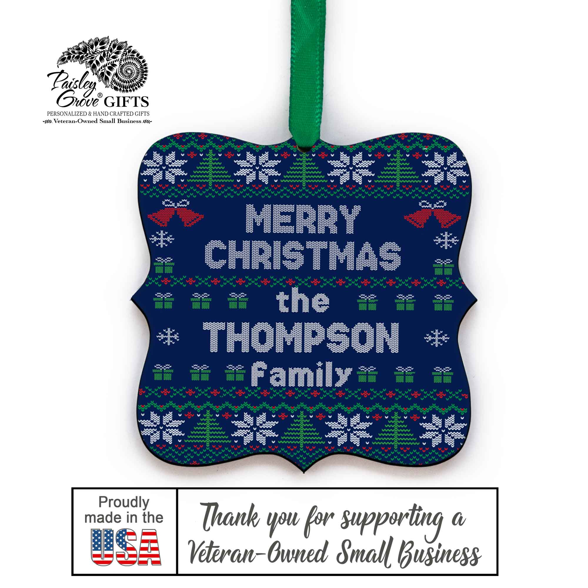 CopyrightPaisleyGroveGIFTS S517b Custom Last Name Christmas Tree Ornament Ugly Xmas Sweater Design Made in the USA