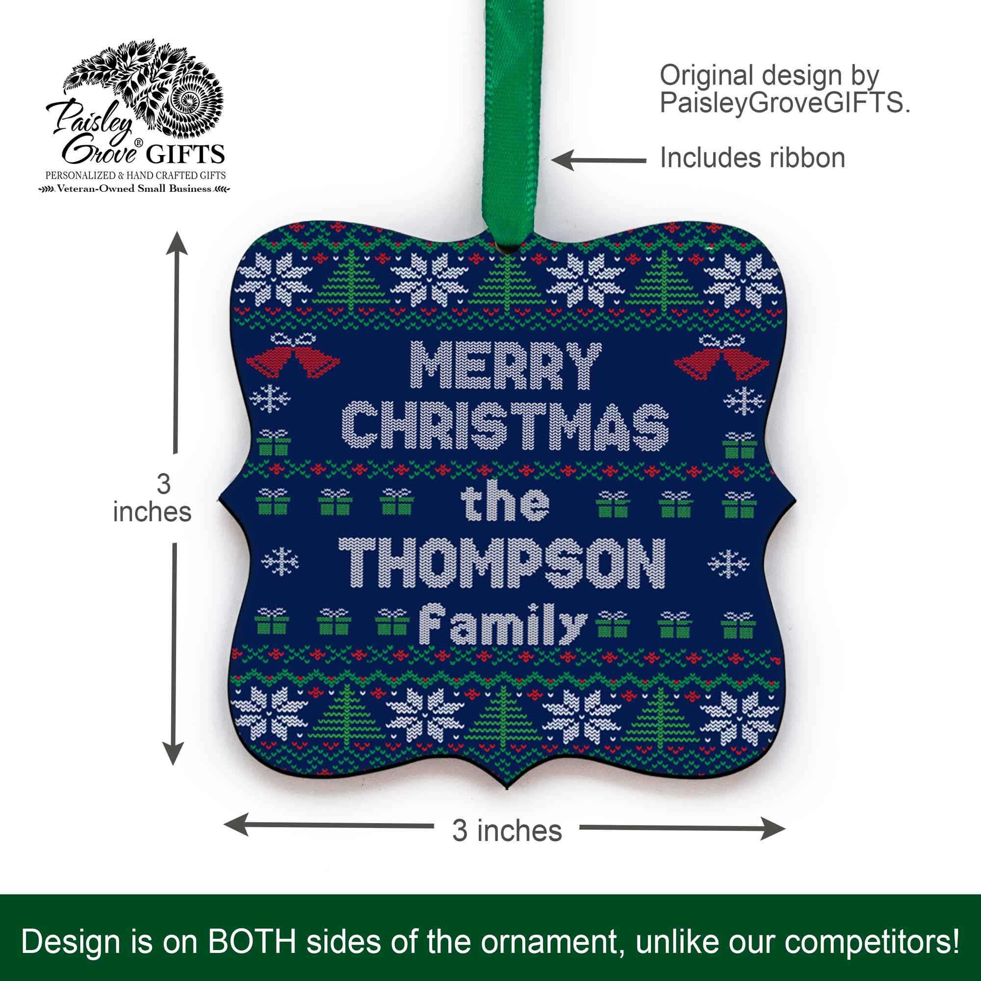 CopyrightPaisleyGroveGIFTS S517b 3x3 inch Holiday Ornament Customized with Last Name Funny White Elephant Gift Exchange