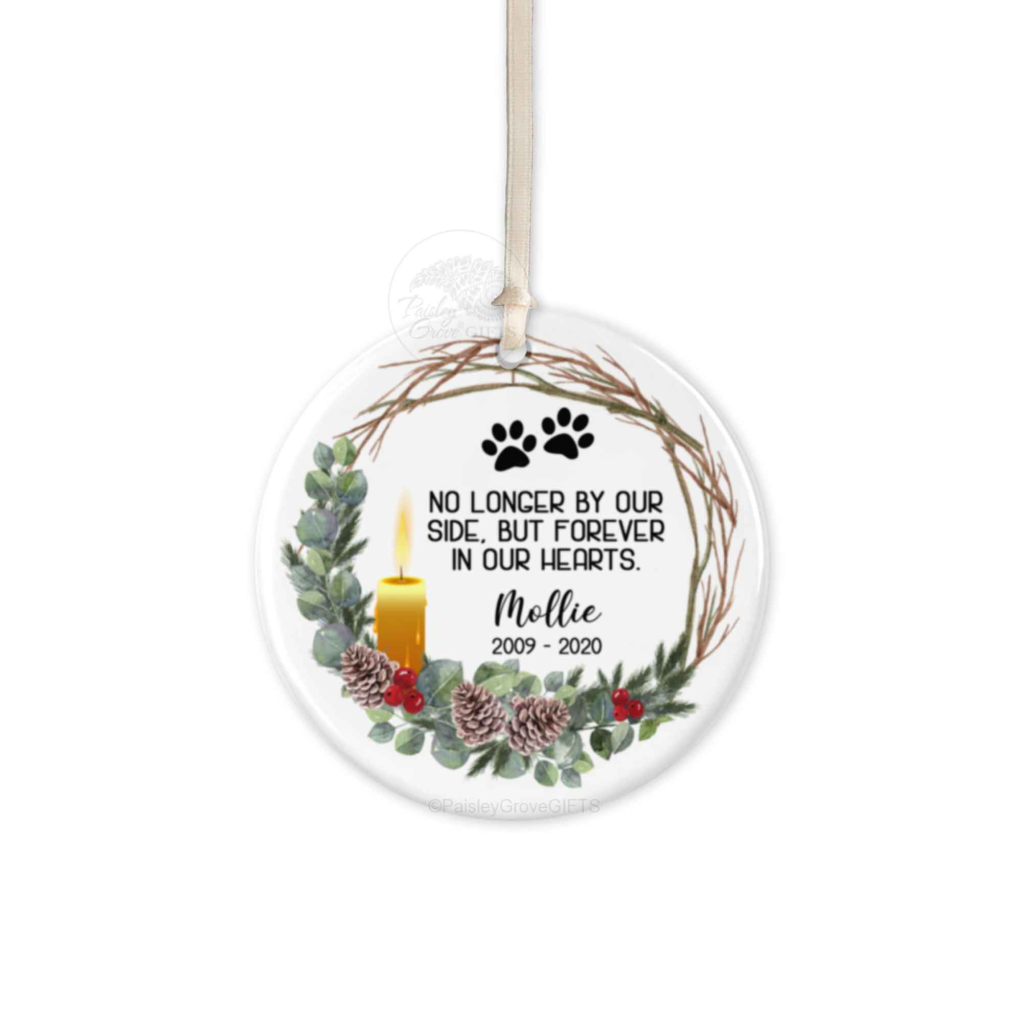 Copyright PaisleyGroveGIFTS S522e Pet Memorial Personalized Christmas Ornament Ceramic with candle and wreath design