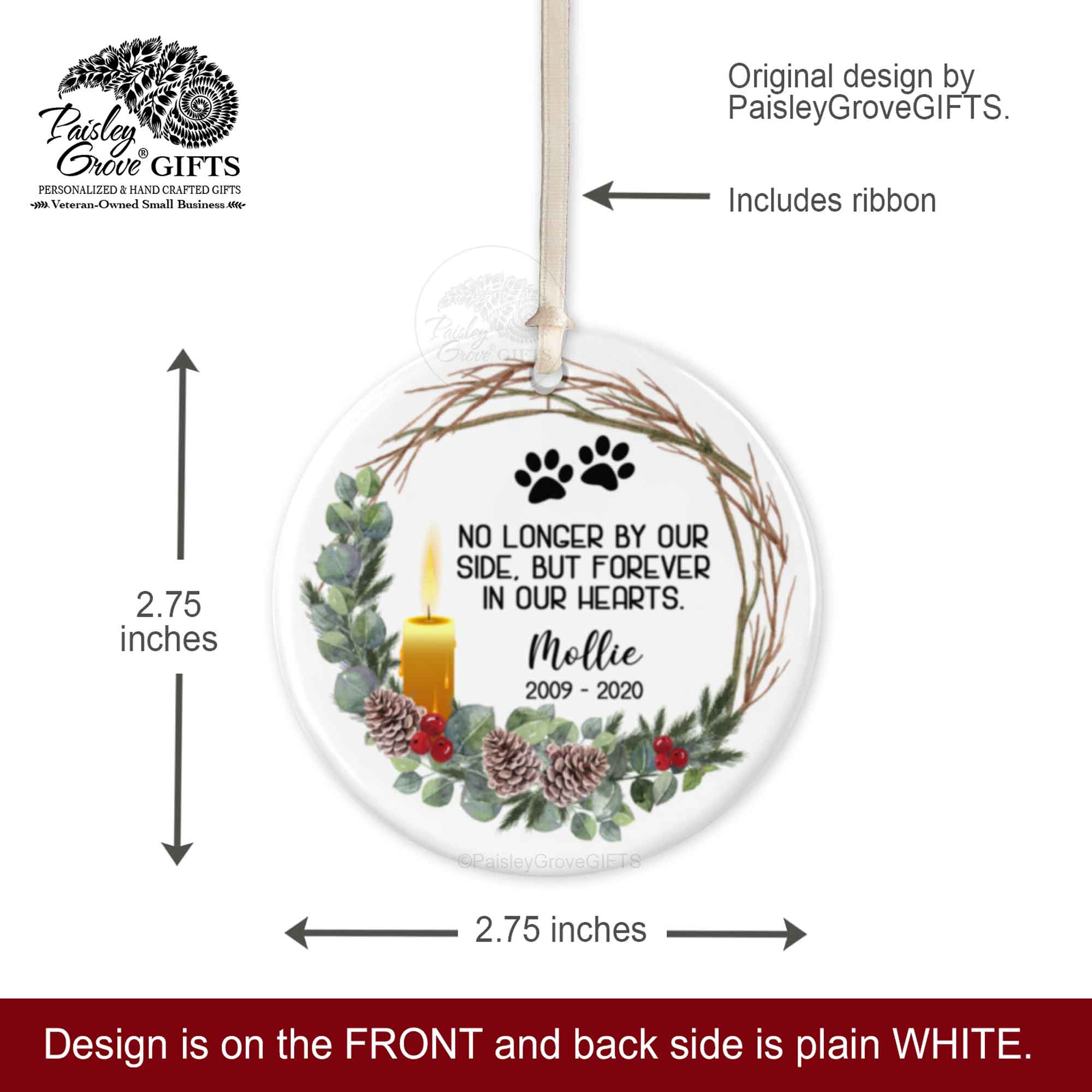 CopyrightPaisleyGroveGIFTS S522e2.75 inches round ceramic Pet Memorial Keepsake Christmas Ornament