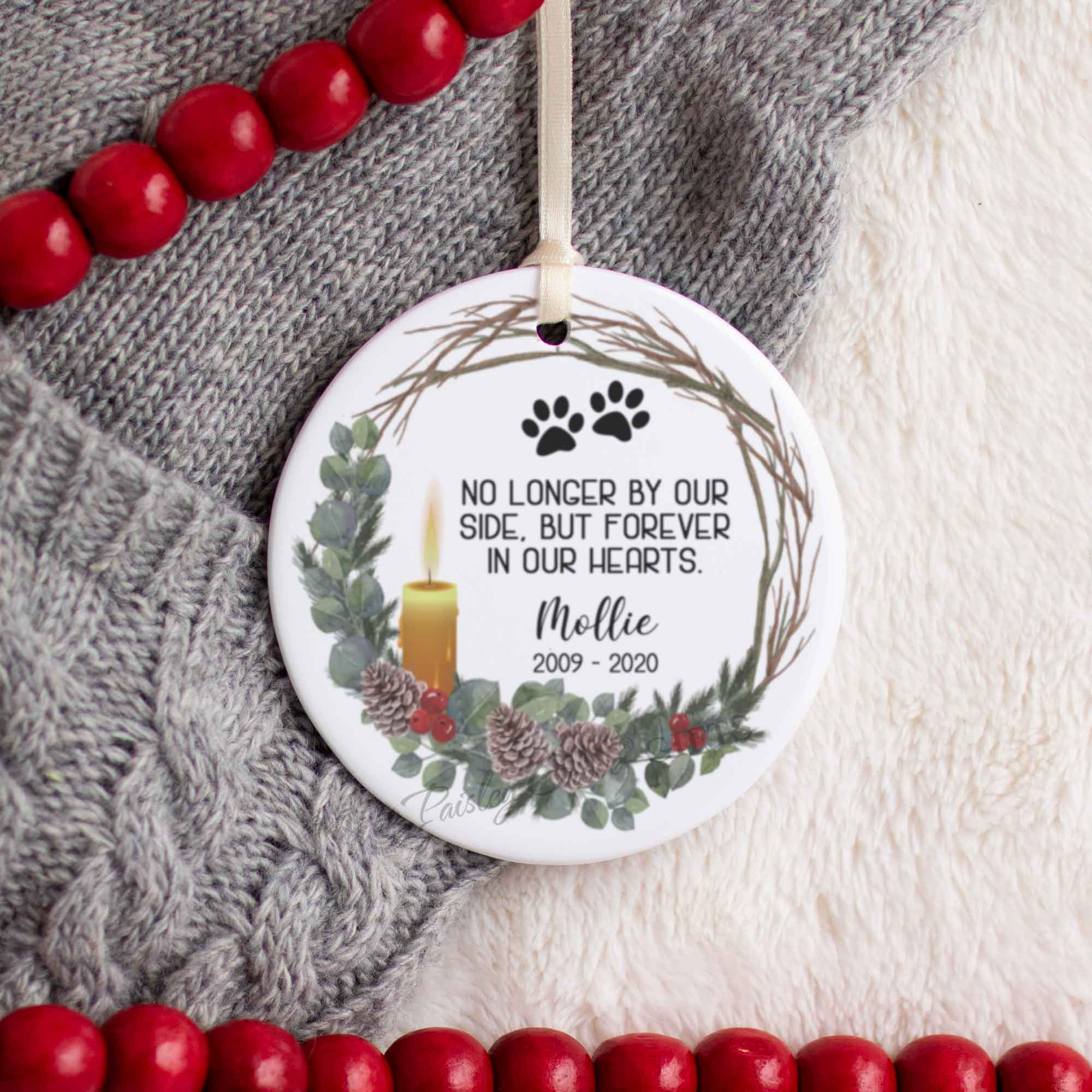 CopyrightPaisleyGroveGIFTS S522e Personalized Pet Christmas Ornament with ribbon for pet crossing the rainbow bridge