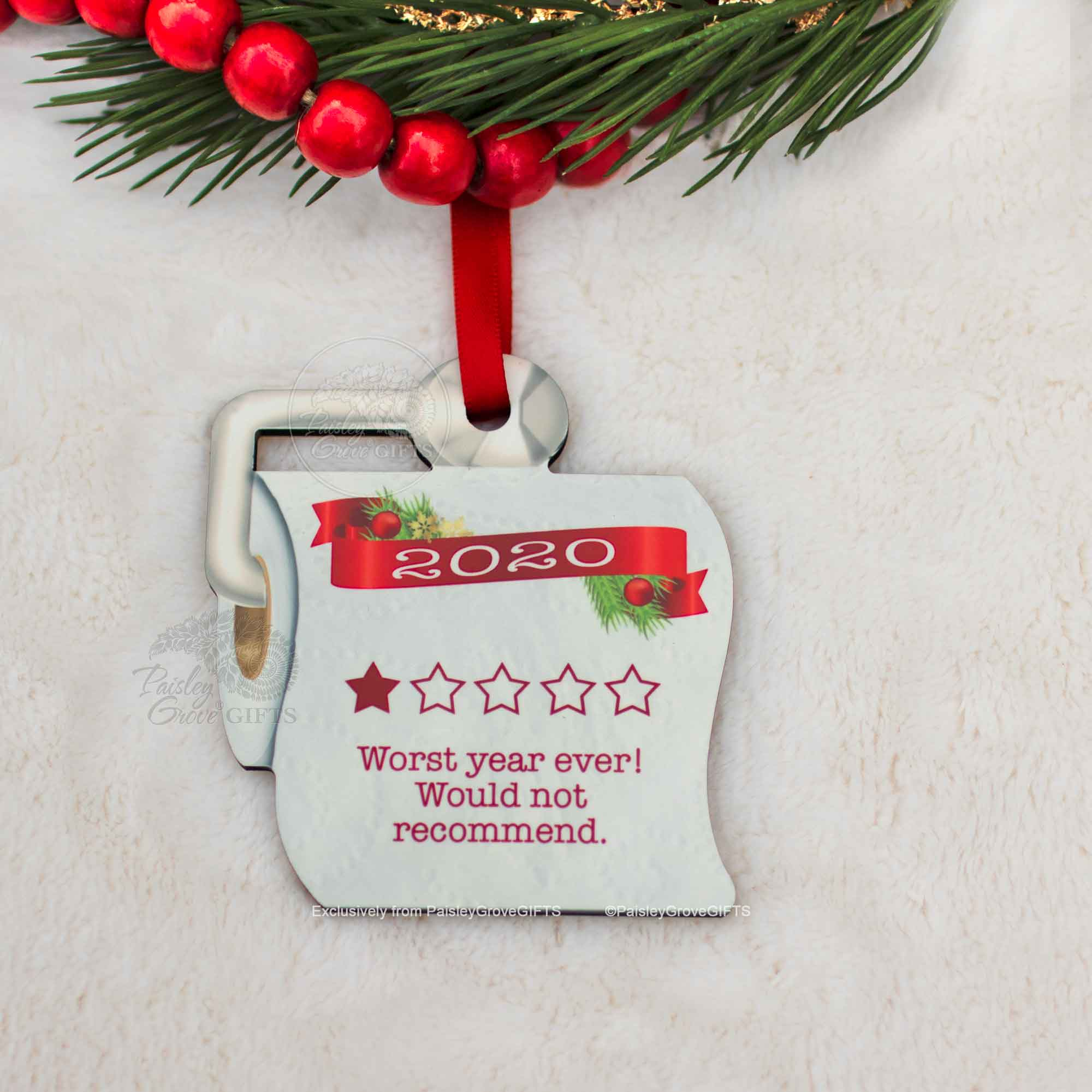 CopyrightPaisleyGroveGIFTS S525a Unique Christmas Ornament 2020 Quarantined Gift