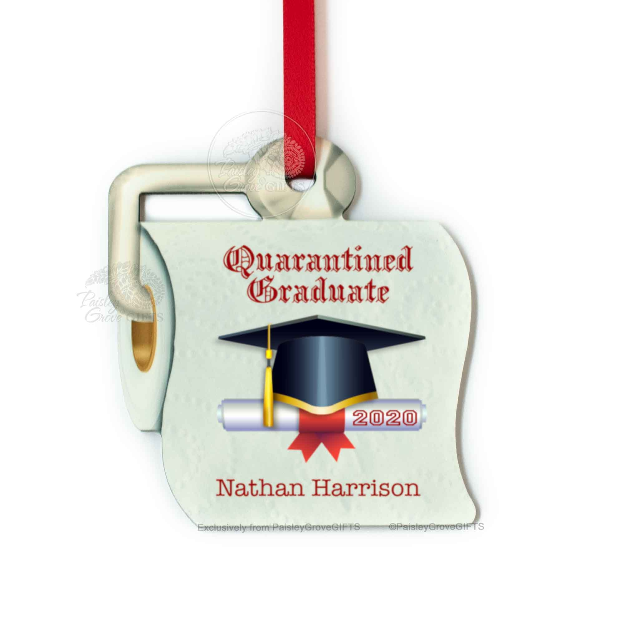 Copyright PaisleyGroveGIFTS S525c1 Personalized Toilet Paper Christmas Ornament Quarantined Graduate Class of 2020